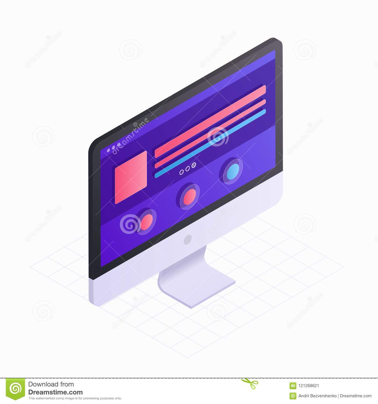3D Isometric computer screen in flat design vector illustration. LCD monitor icon isolated on white background. Concept
