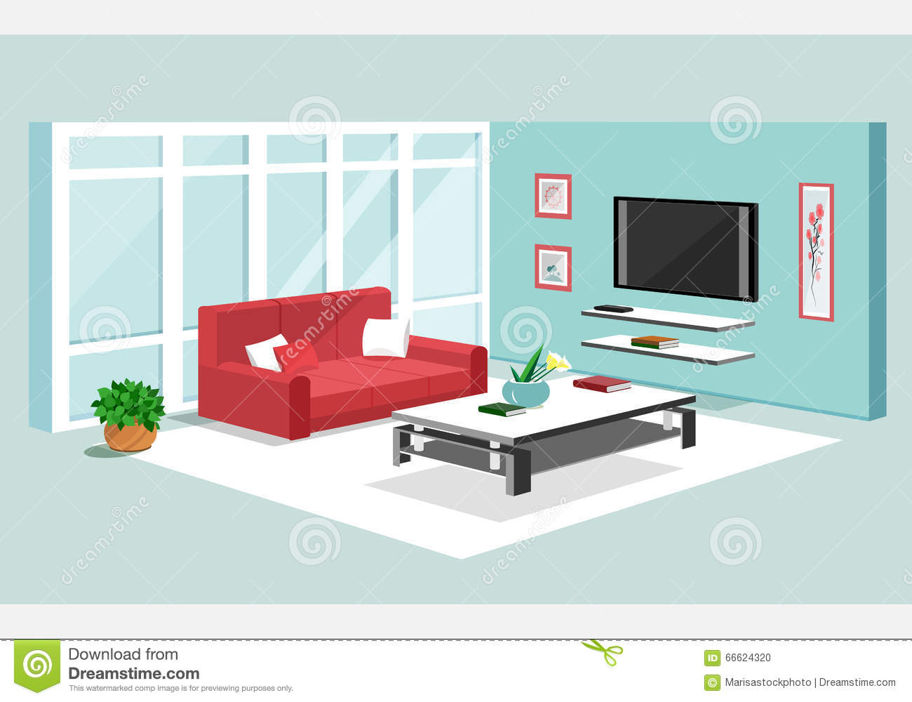 Living room vector illustration vector illustration for Room design vector