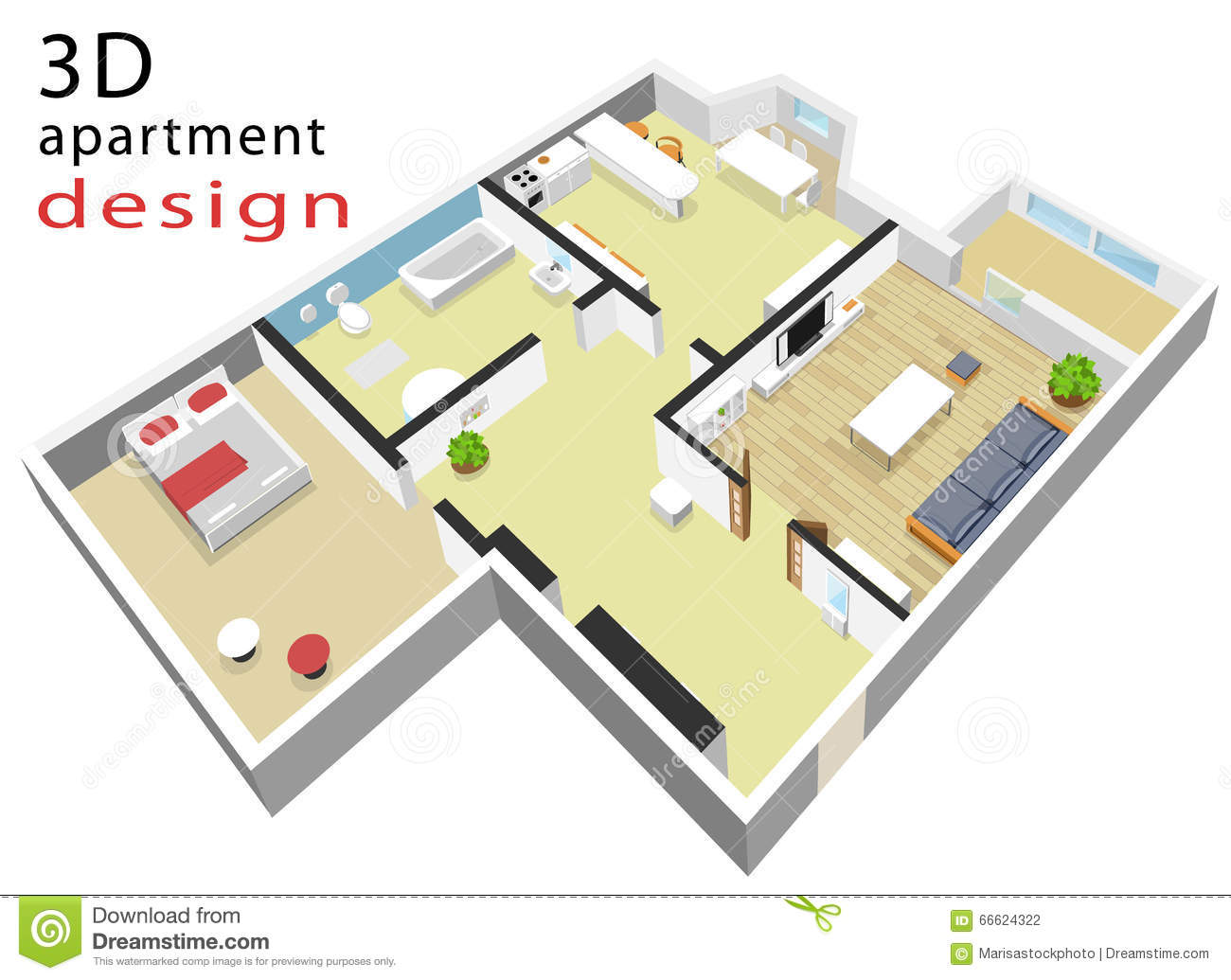 3d isometric floor plan for apartment vector illustration 3d apartment layout