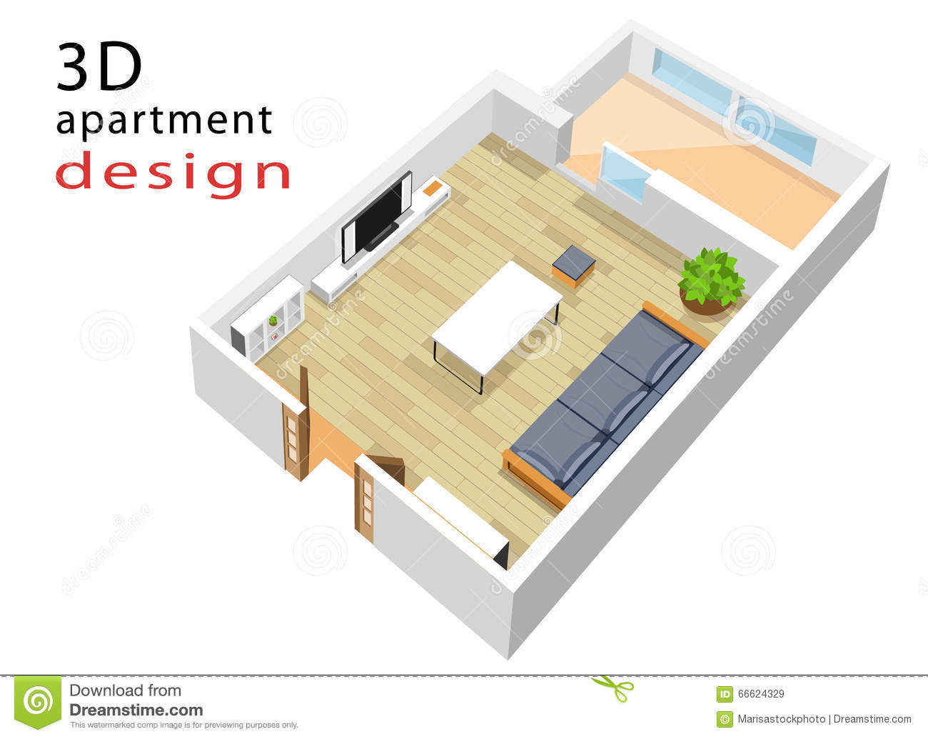 3d isometric floor plan for apartment vector illustration for Programmi design