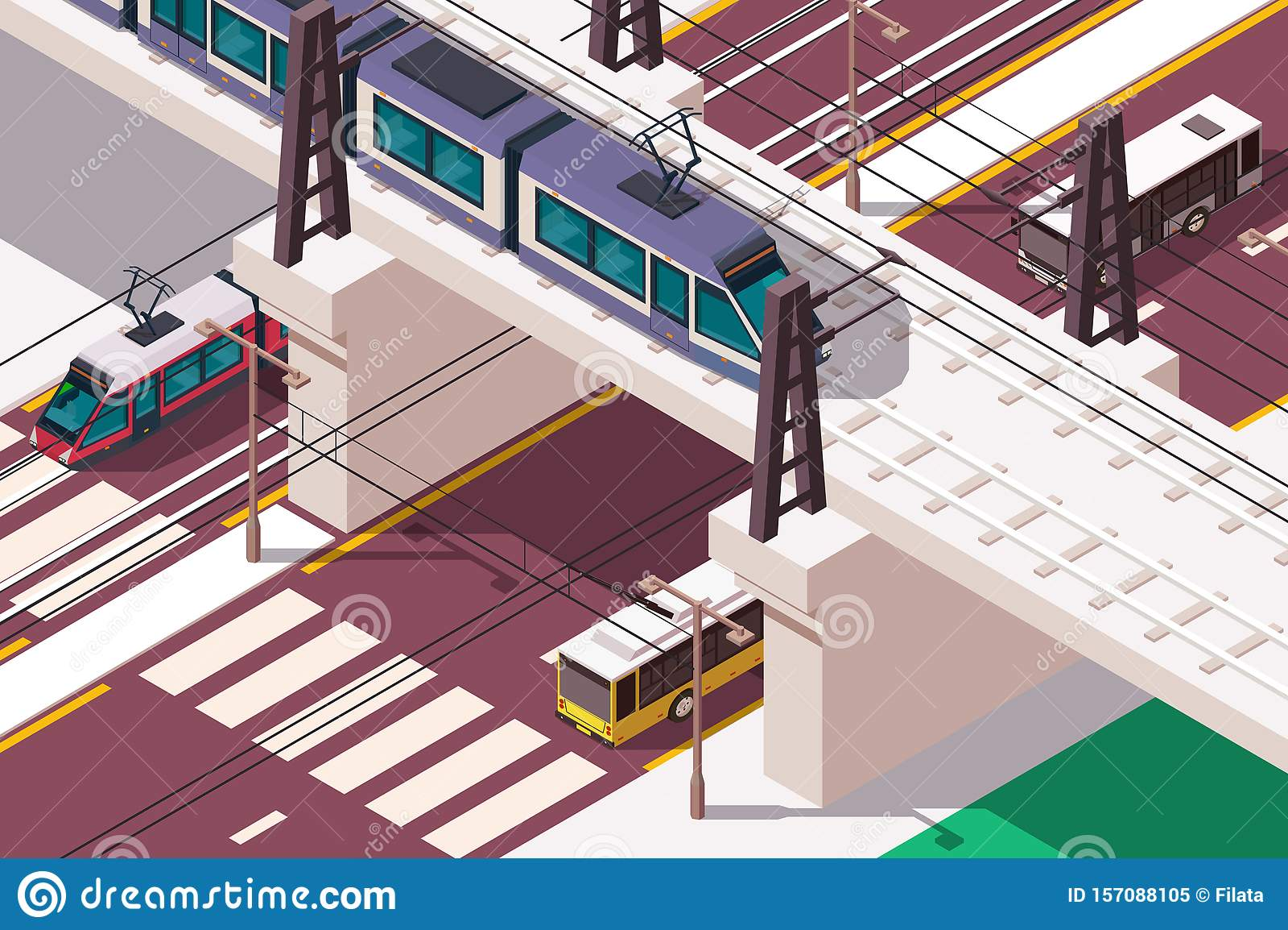 3d isometric urban railway bridge over road in city.