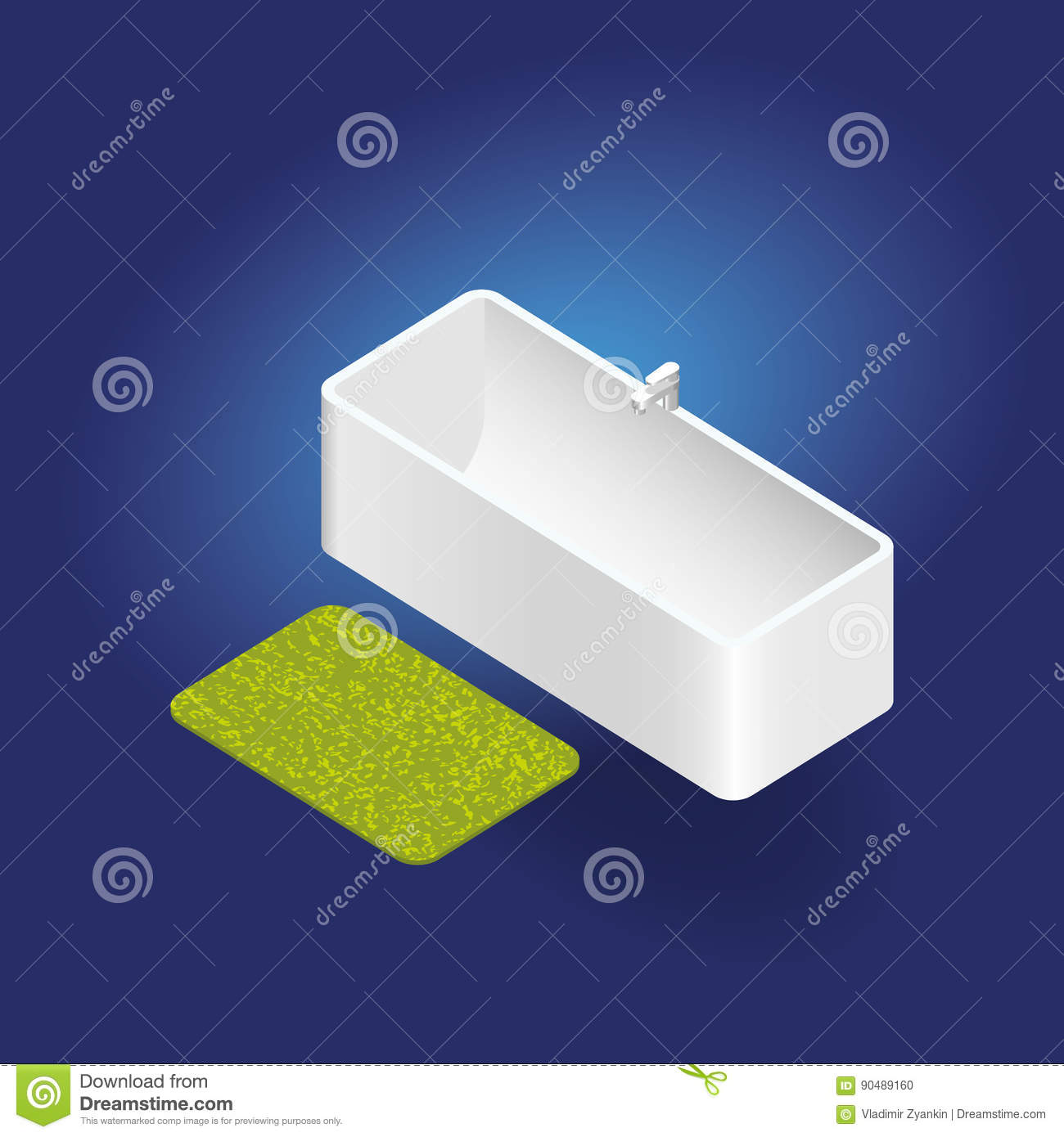 3d Isometric Vector Bathtub With Rug Stock Vector - Illustration of ...