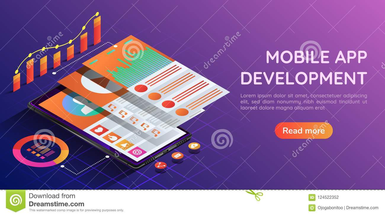 Isometric smartphone with mobile application user interface layer