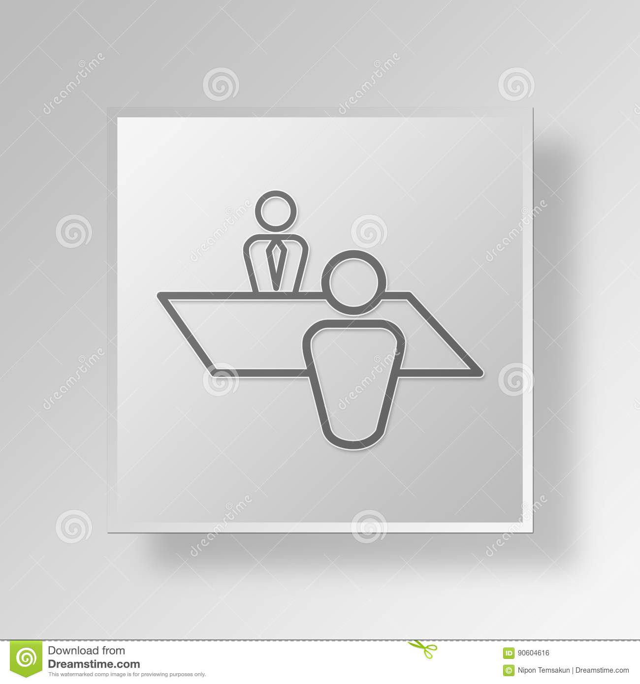 3D Job Interview Icon Business Concept Stock Illustration