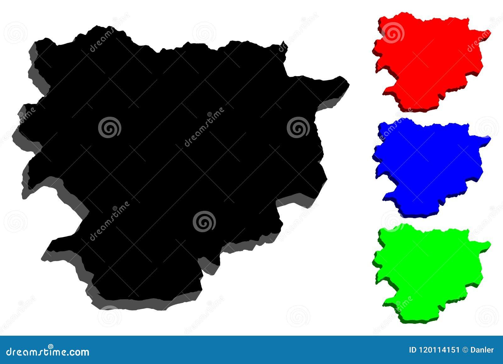 3D kaart van Andorra