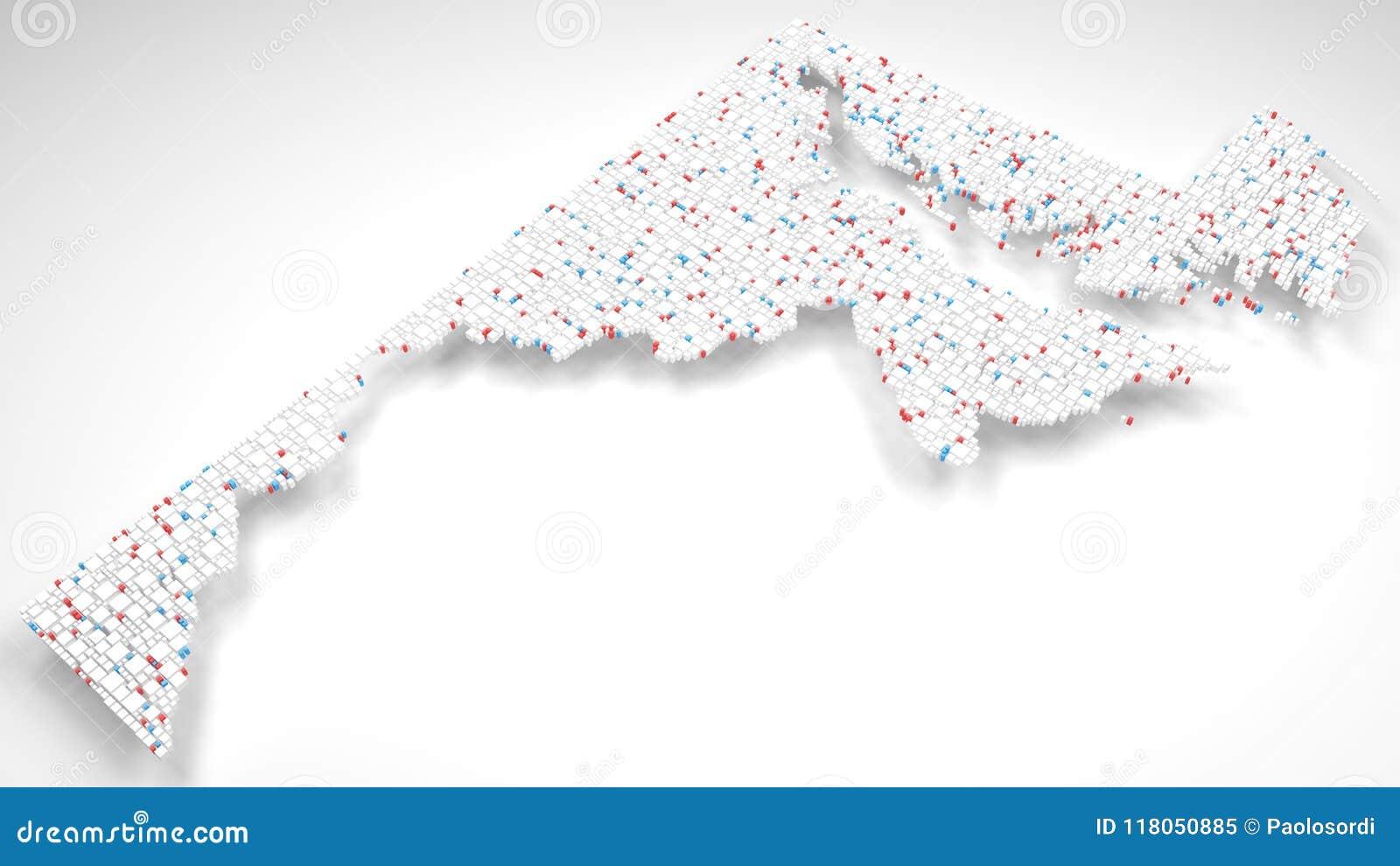 3D Kaart van Maryland - de V.S.