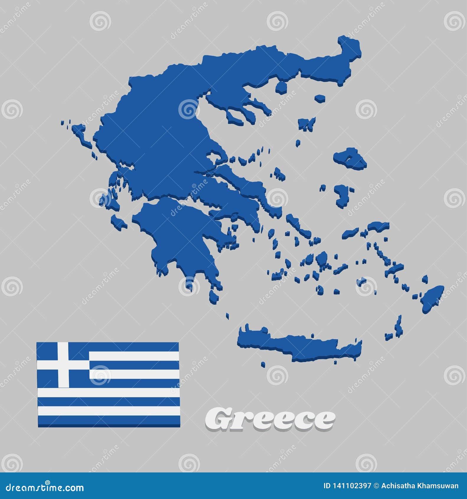 3D Kaartoverzicht en vlag van Griekenland, Negen horizontale strepen, op zijn beurt blauw en wit; een wit kruis op een blauw vier