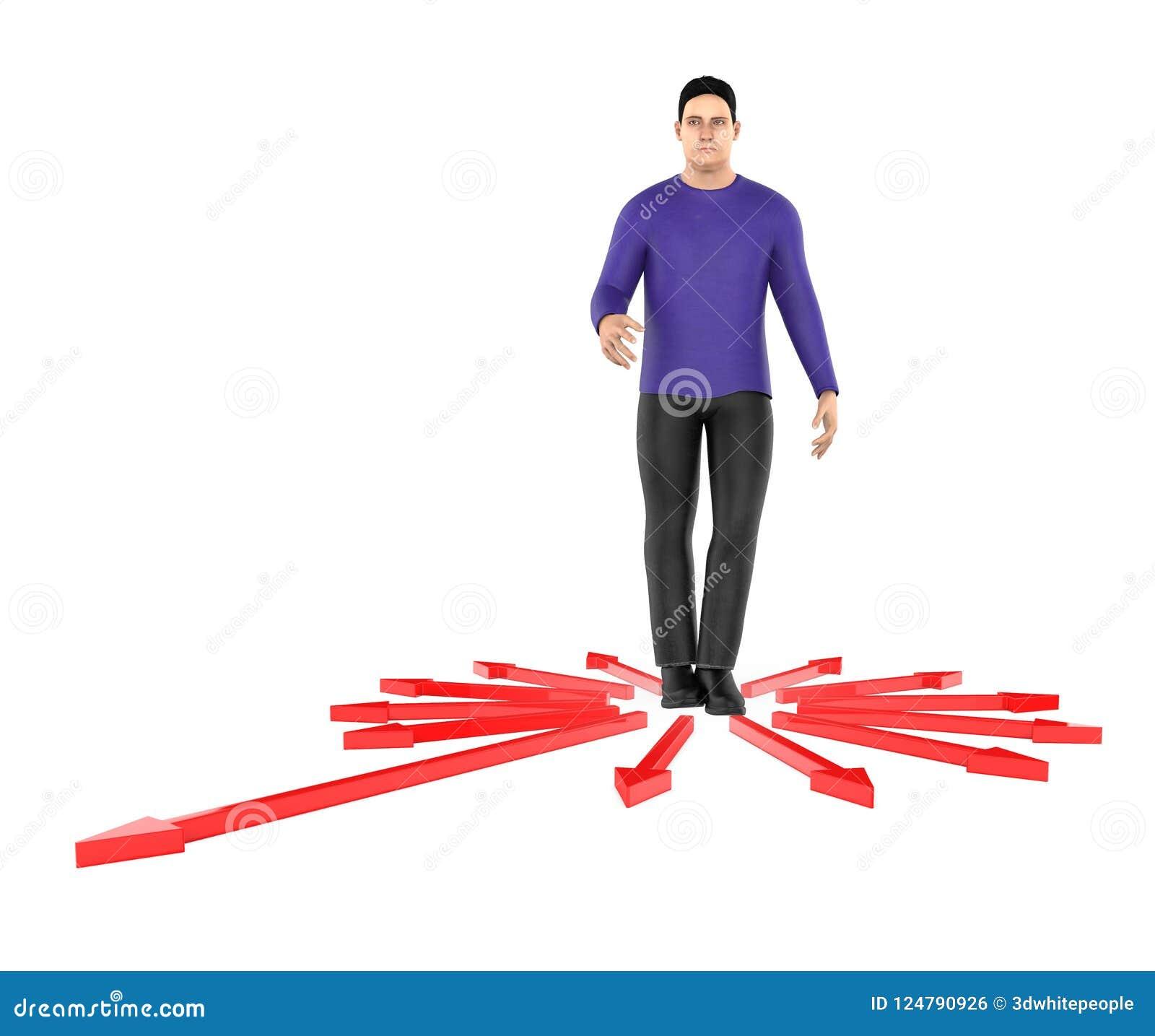 3d karakter, verwarde mens, doubtfull terwijl status in centrum die van pijlen naar verschillende richting richten
