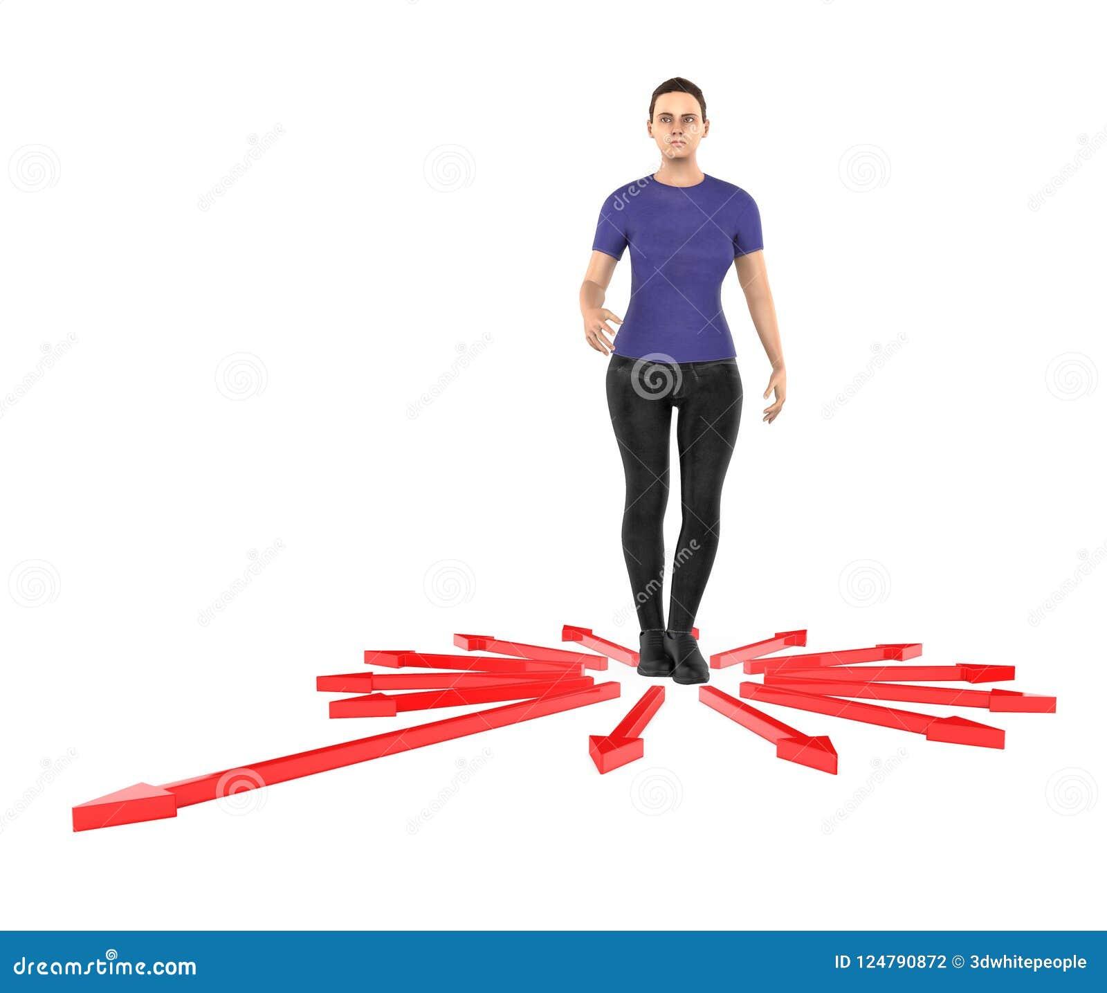 3d karakter, verwarde vrouw, doubtfull terwijl status in centrum die van pijlen naar verschillende richting richten