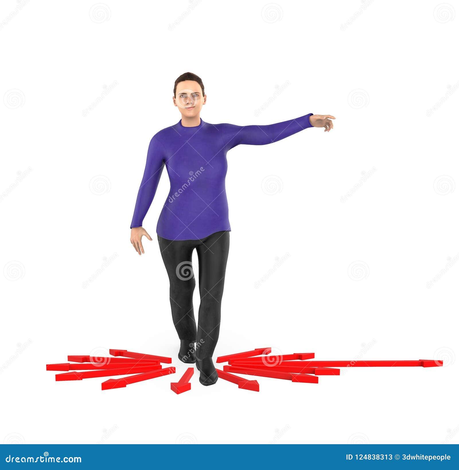 3d karakter, vrouw die zijn handen naar een richting richten,