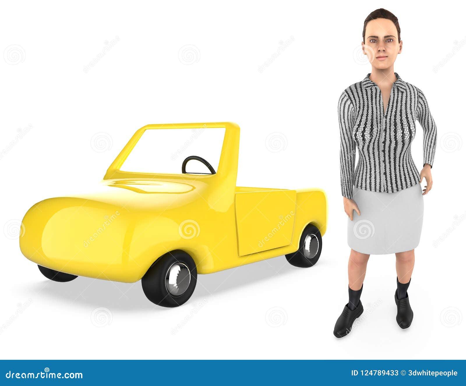 3d karakter, vrouw, en een auto