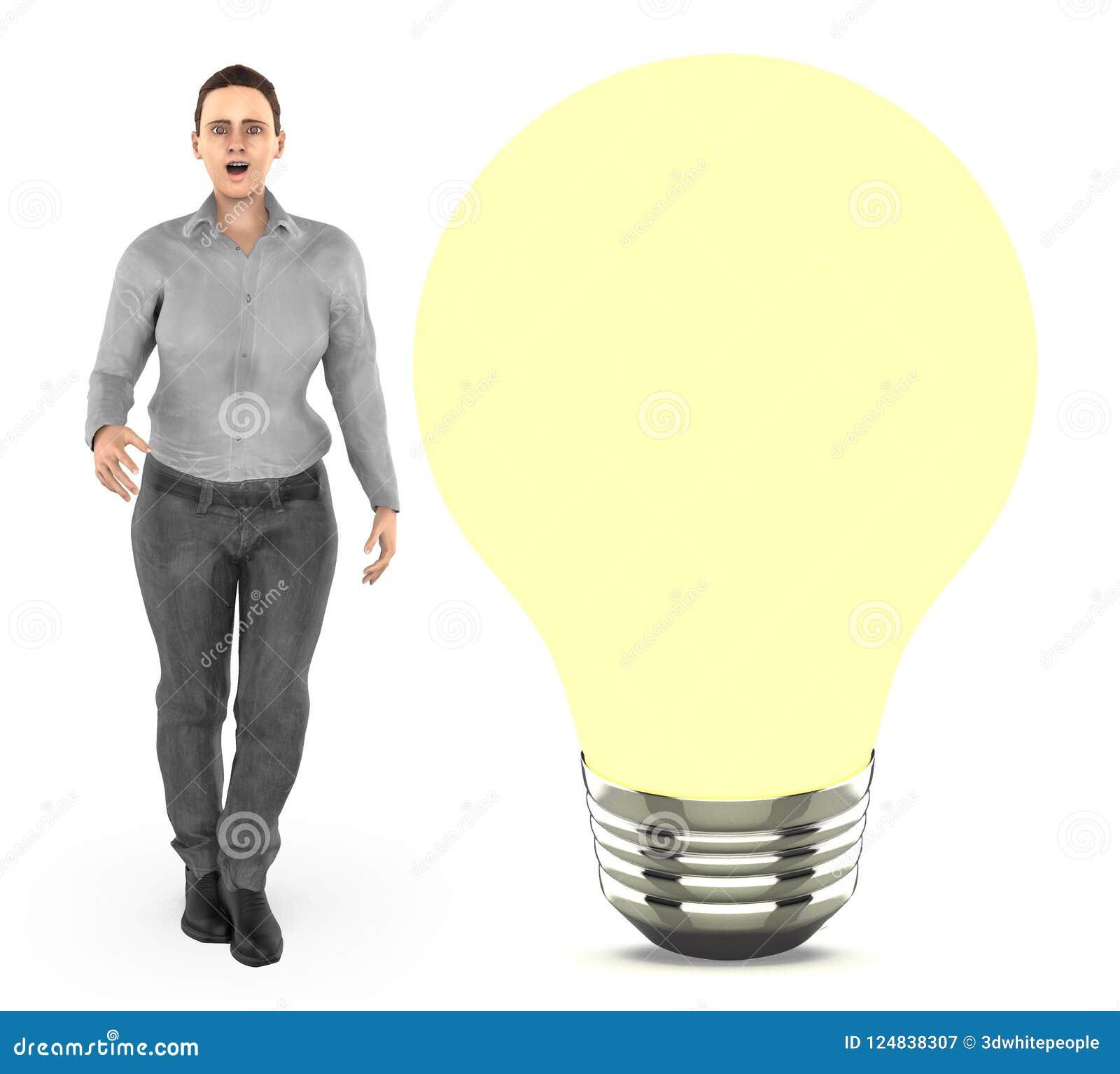 3d karakter, vrouw status dichtbij aan a iluminated bol