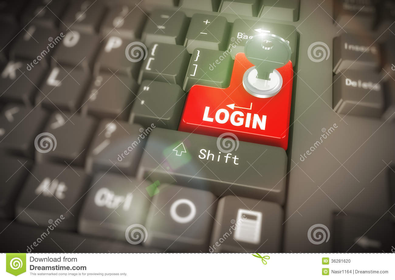 3d Keyboard - Secured Login Stock Photo - Image: 36281620