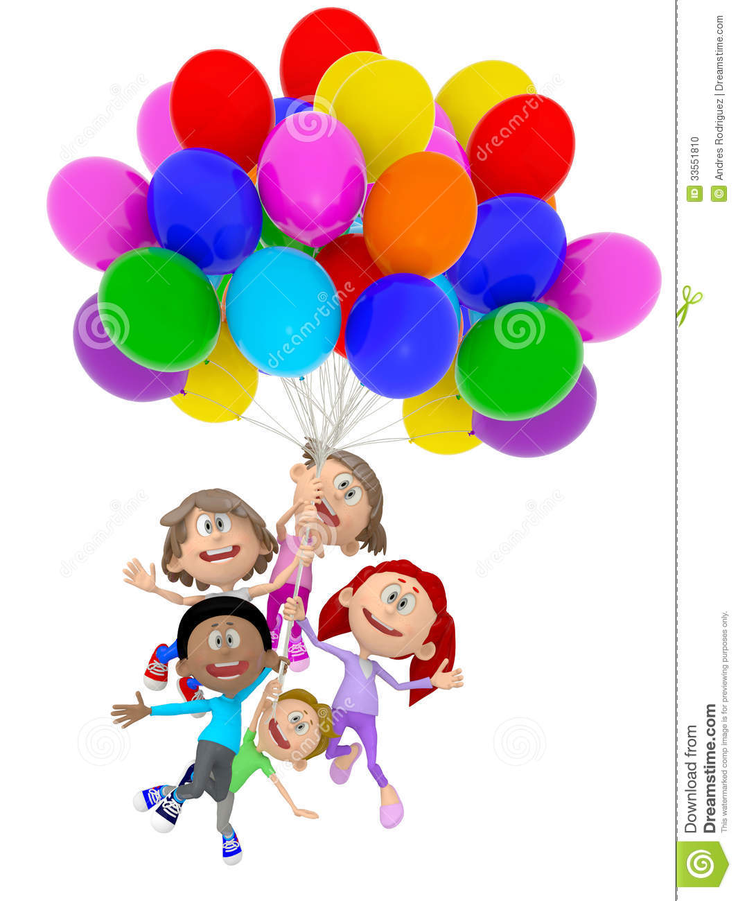 3D group of kids with balloons having fun - isolated over white.