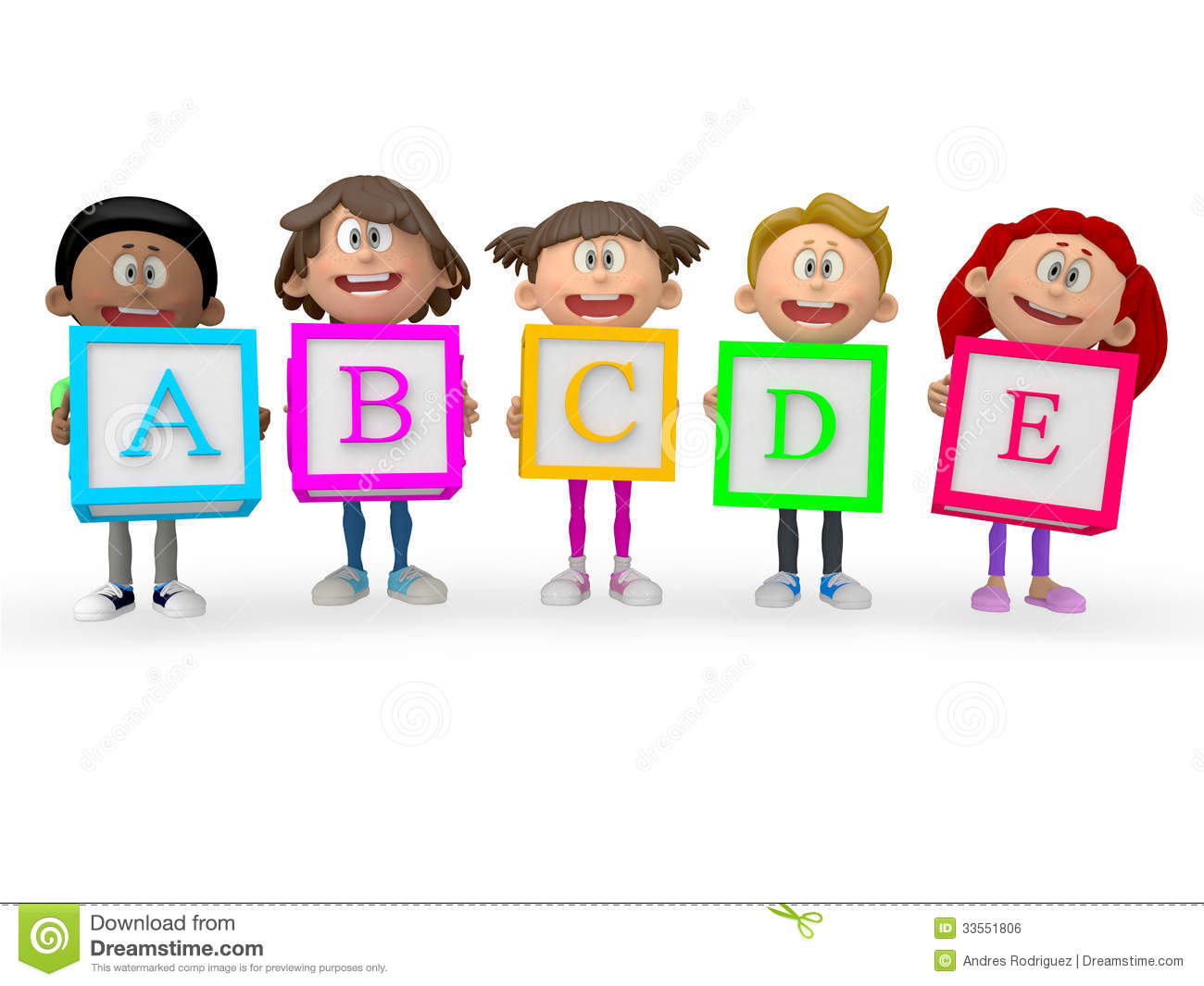 3d kids holding abc cubes stock illustration image of