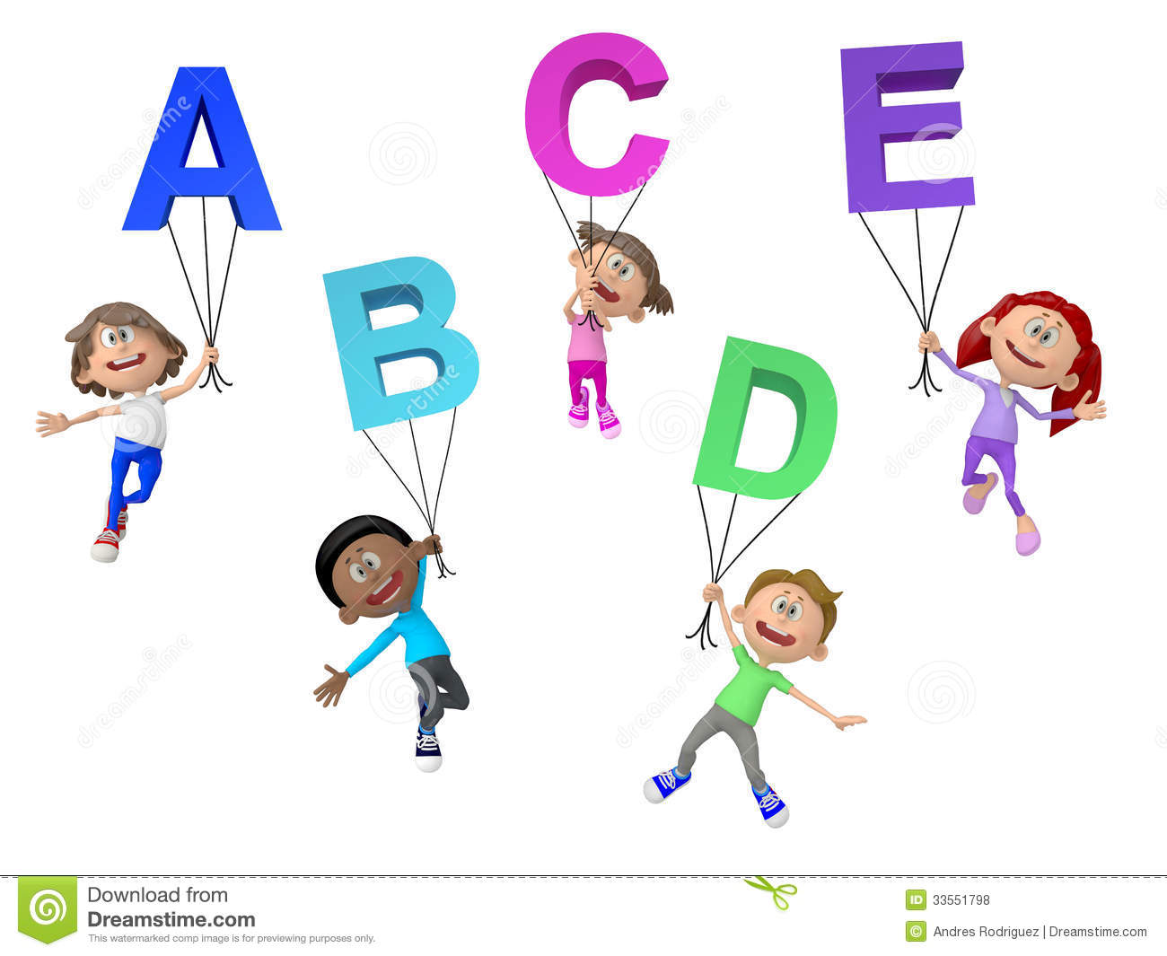 3d kids with letters of the alphabet royalty free stock for Wallpaper 3d for kids