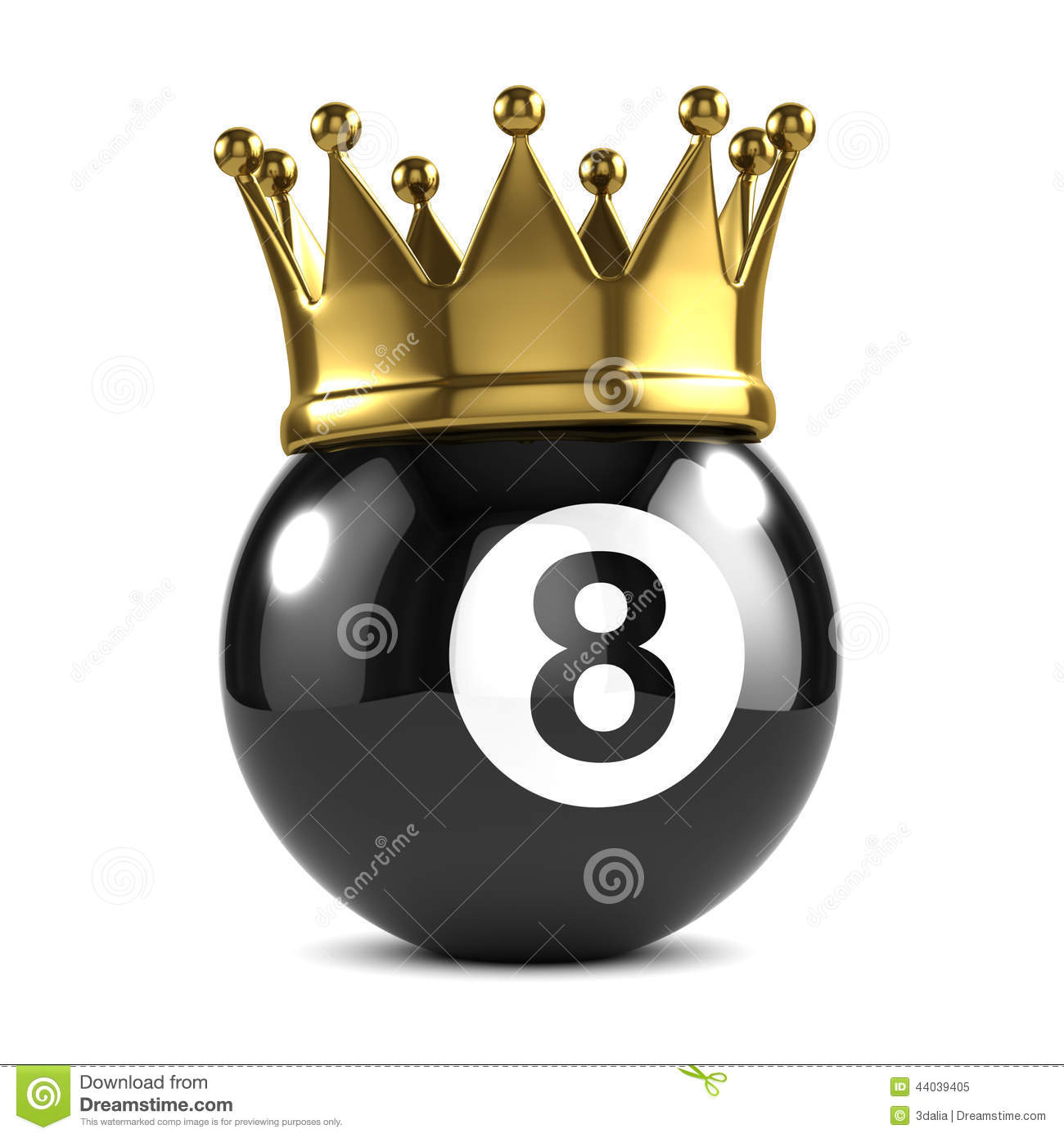 3d King 8 Ball Wears A Gold Crown Stock Illustration