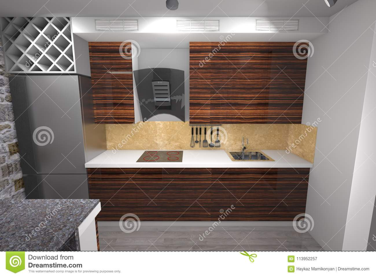 3d Kitchen Design Stock Illustration Illustration Of Plan 113952257