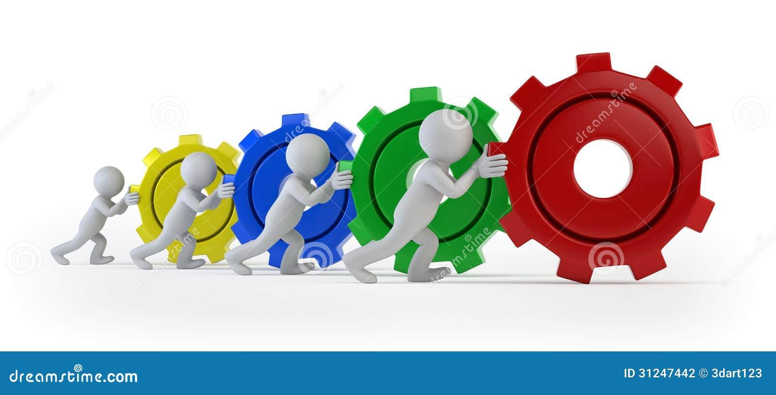 3d kleine mensen - team met toestellen