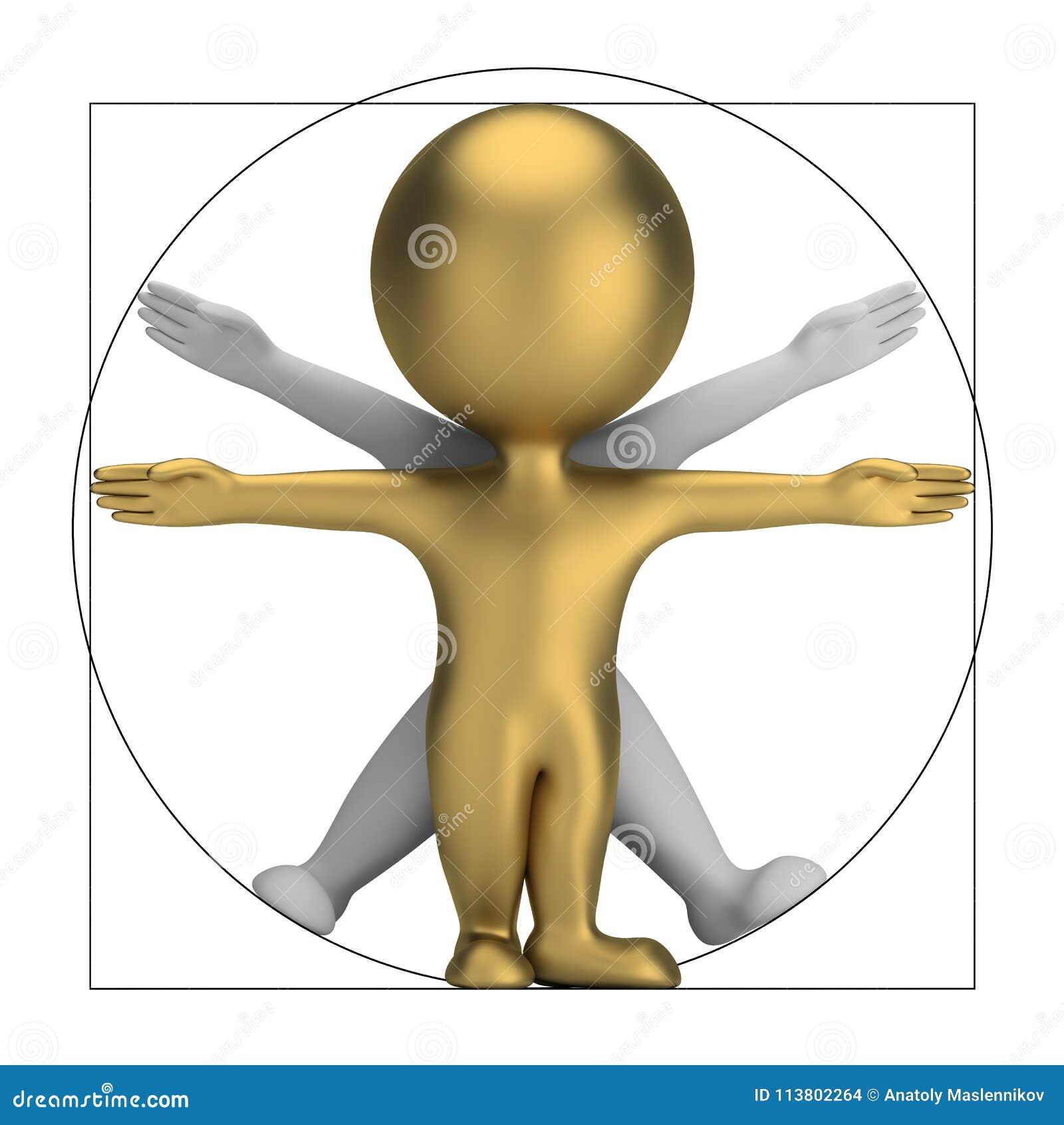 3d kleine mensen - vitruvian mens