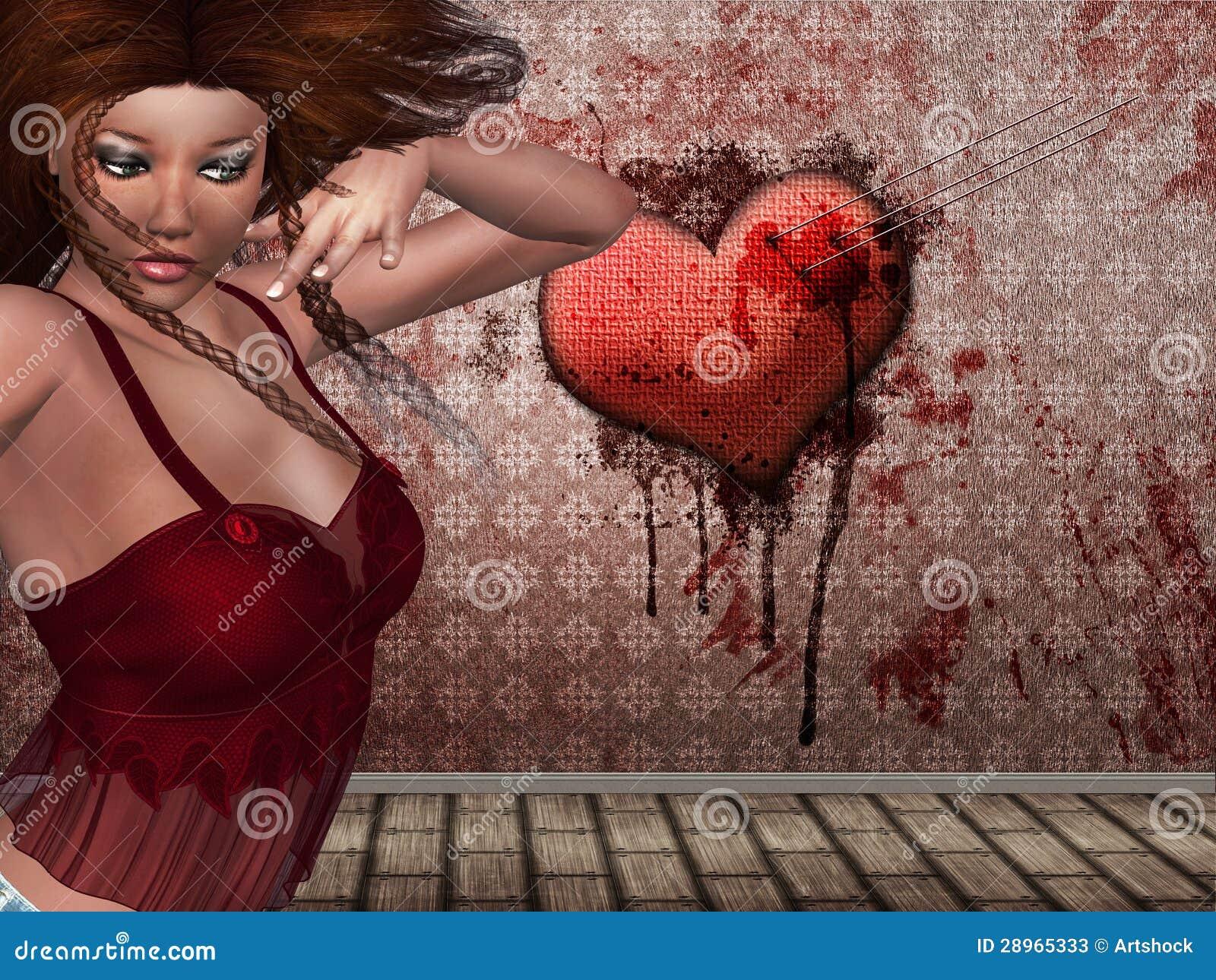 3d kobieta i serce na ścianie