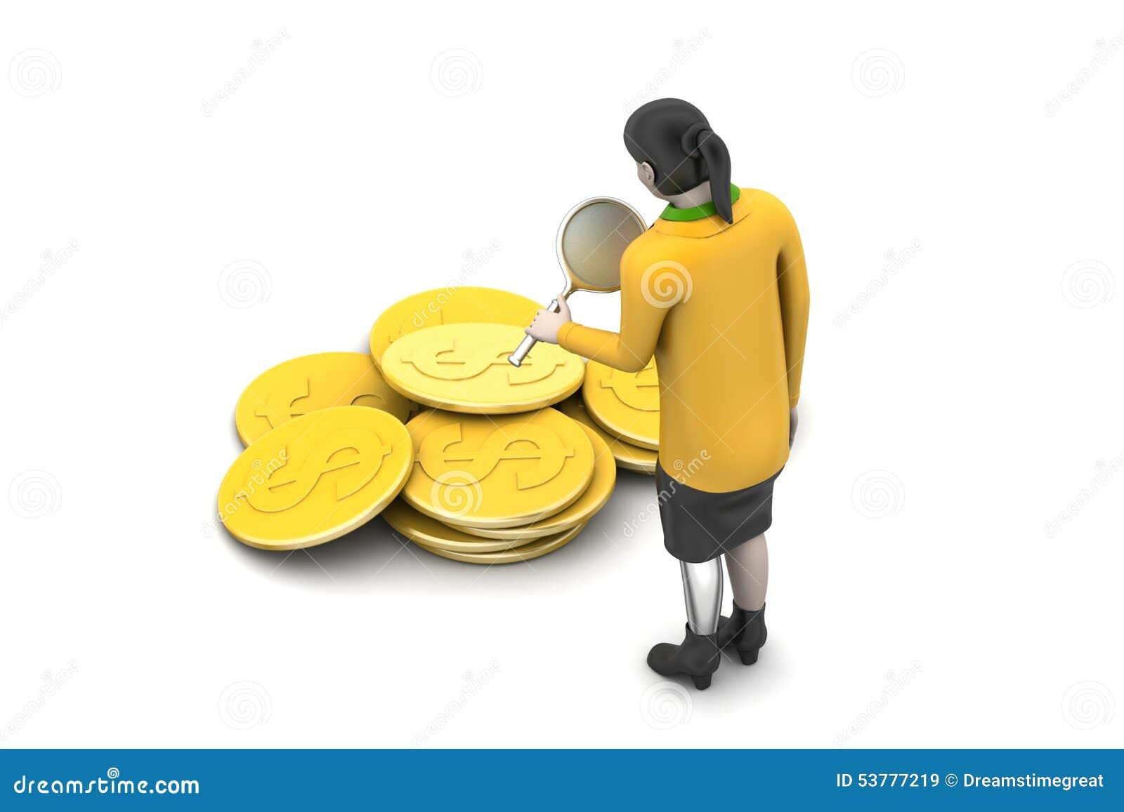 3d kobieta z dolar monetą
