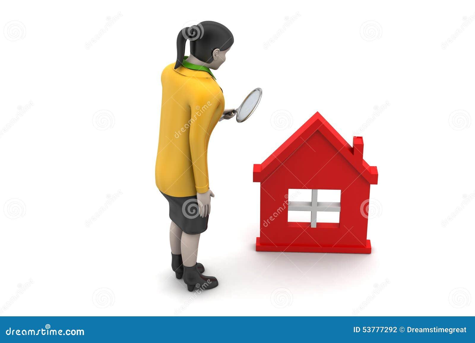 3d kobieta z domem, nieruchomości pojęcie