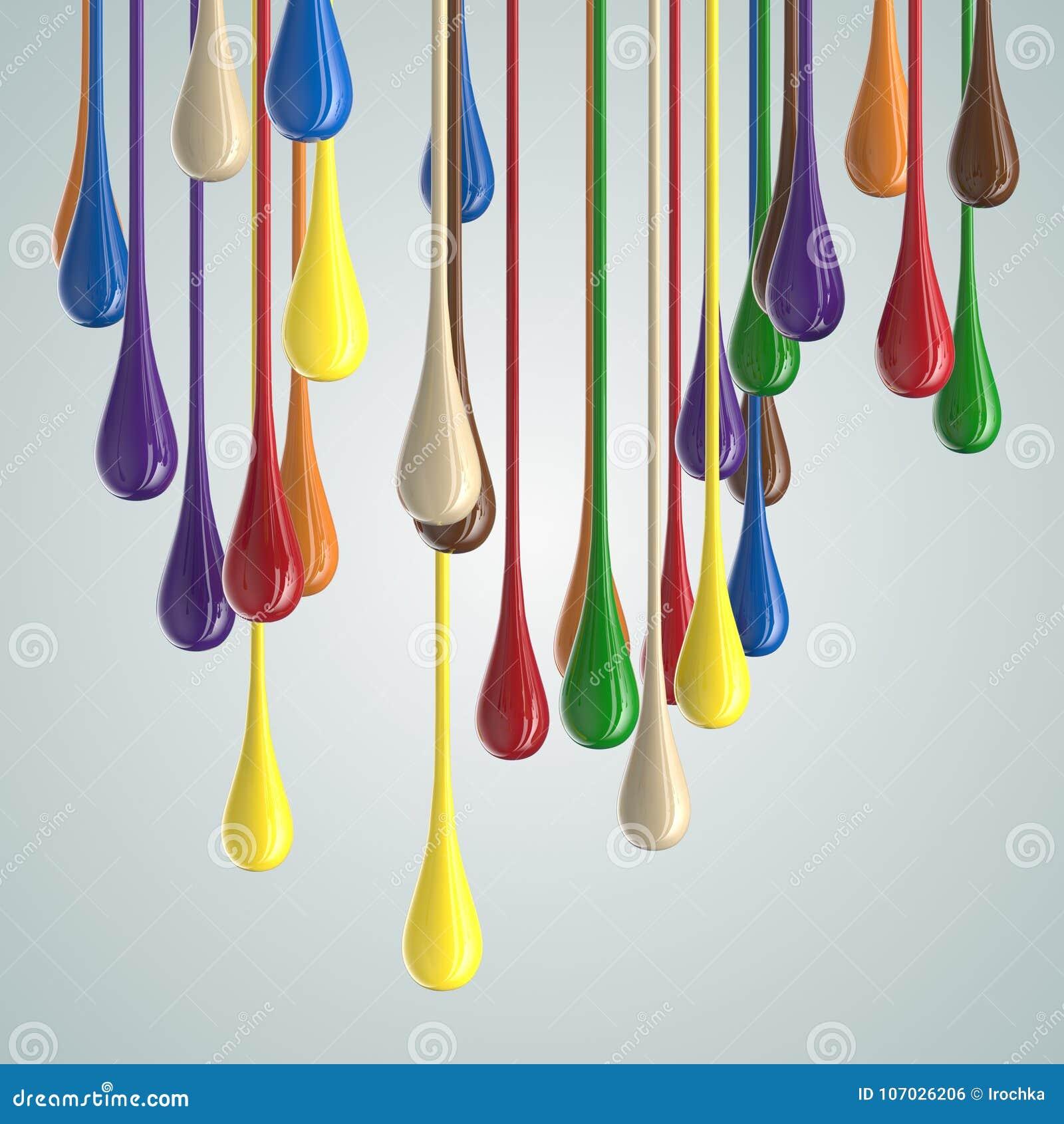3D koloru farby kropli glansowane krople