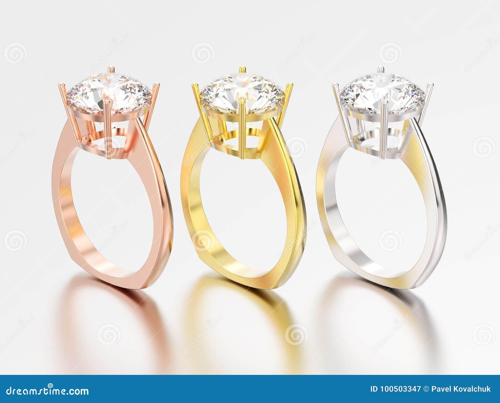 3D l illustrazione tre impegno EUR ingiallisce, dell oro rosa e bianco