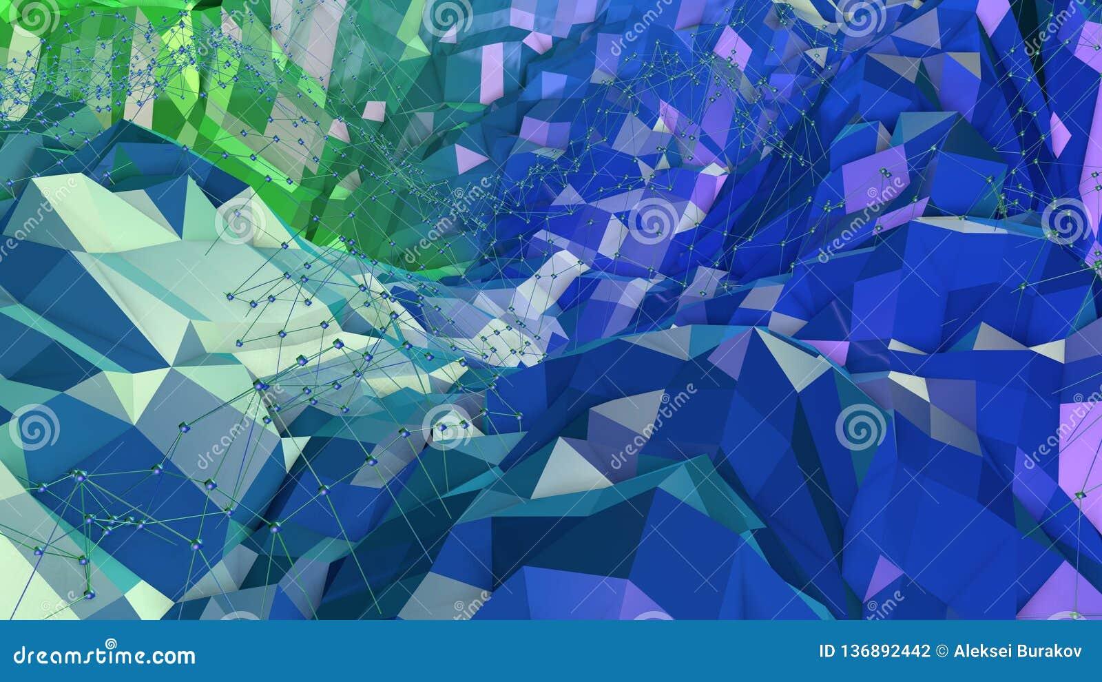 3d lage poly abstracte geometrische achtergrond met moderne gradiëntkleuren 3d kleuren 10 van de oppervlakte blauwgroene gradiënt
