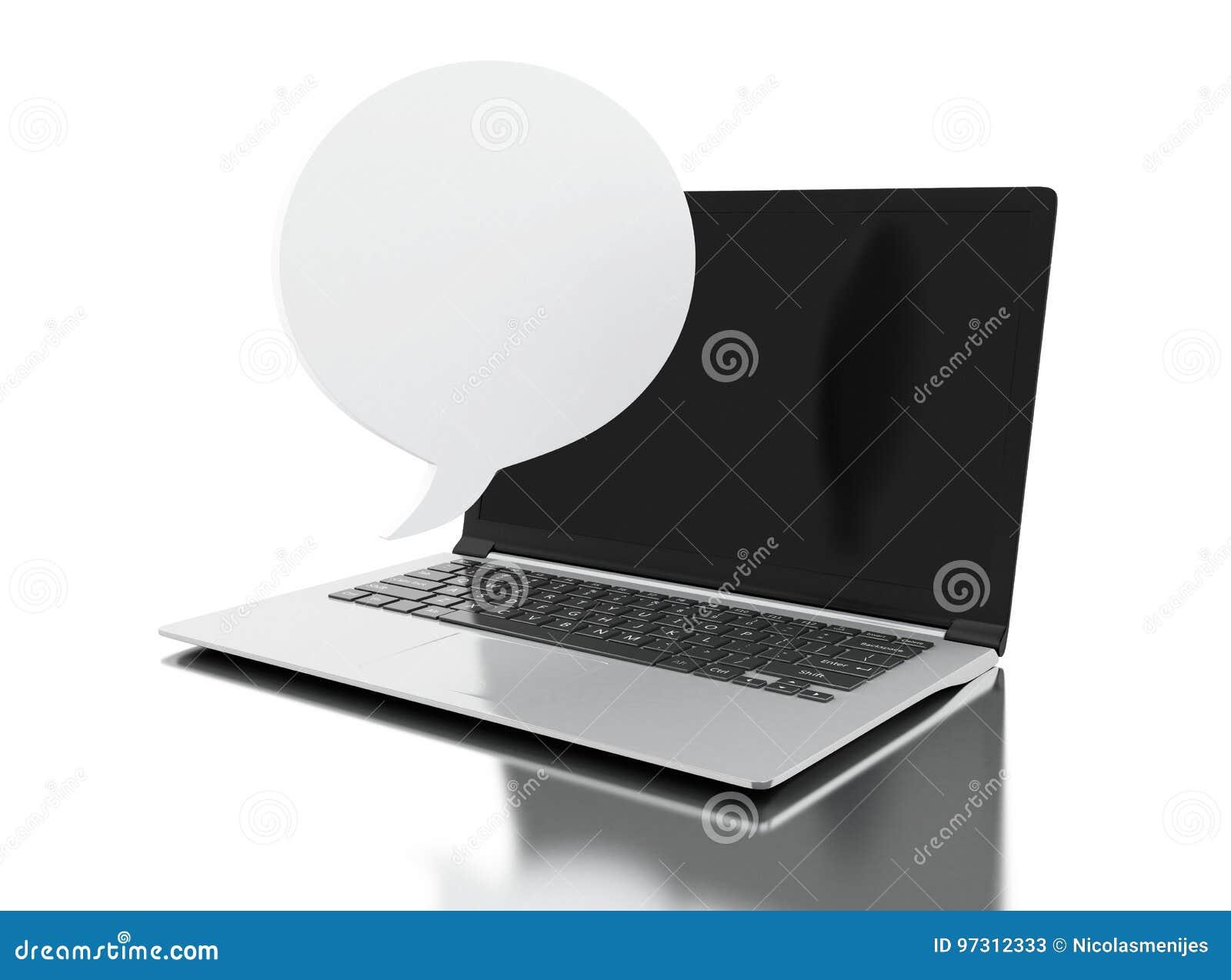 3d Laptop computer with empty bubble speech