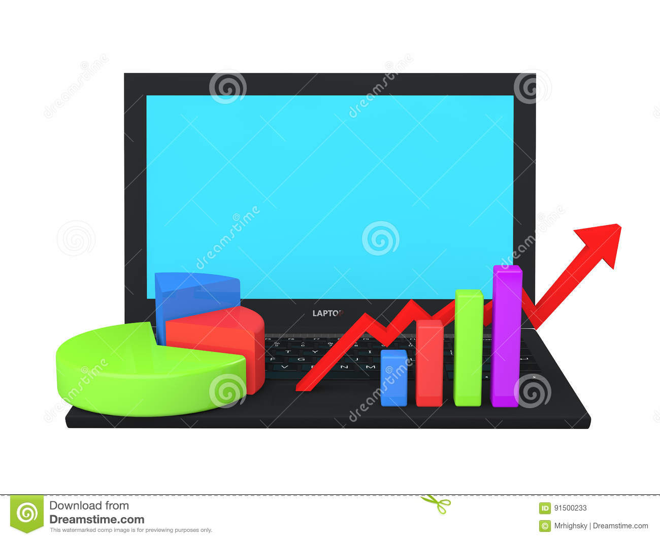 3D laptop with different graphs and charts on keyboard
