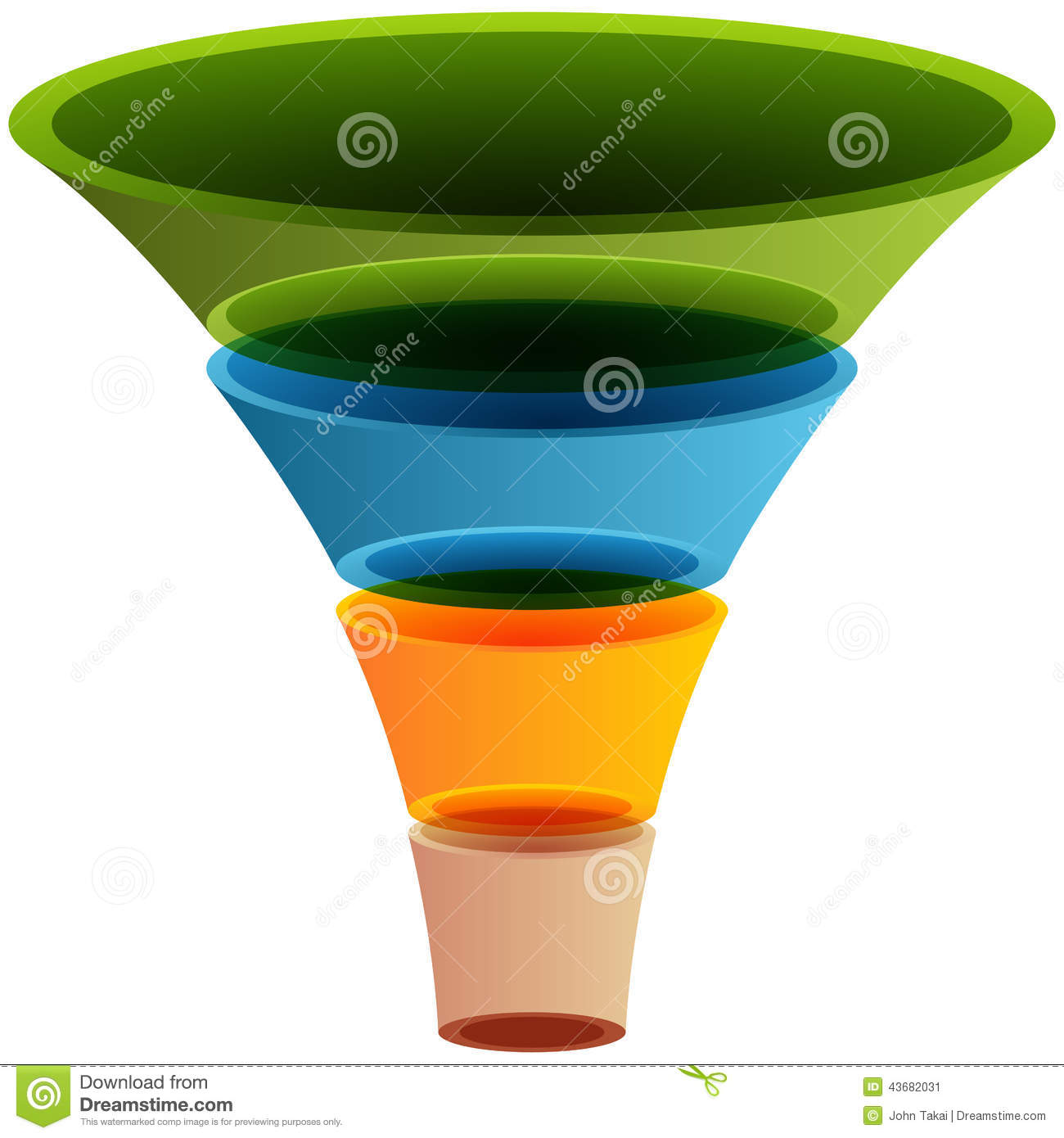 3d Layered Funnel Chart Stock Vector Illustration Of