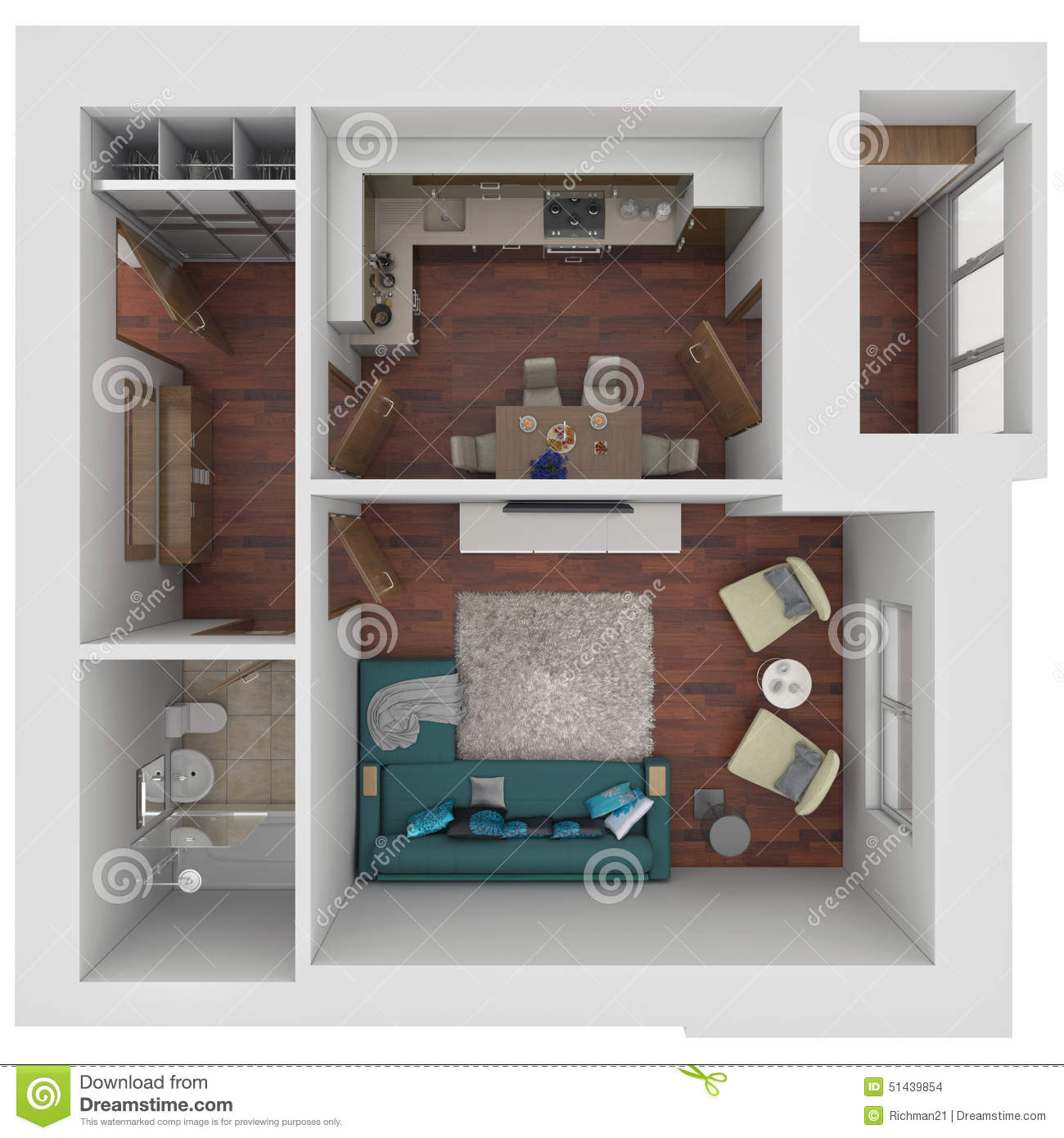 3d layout of the apartment stock illustration for Monolocale dwg