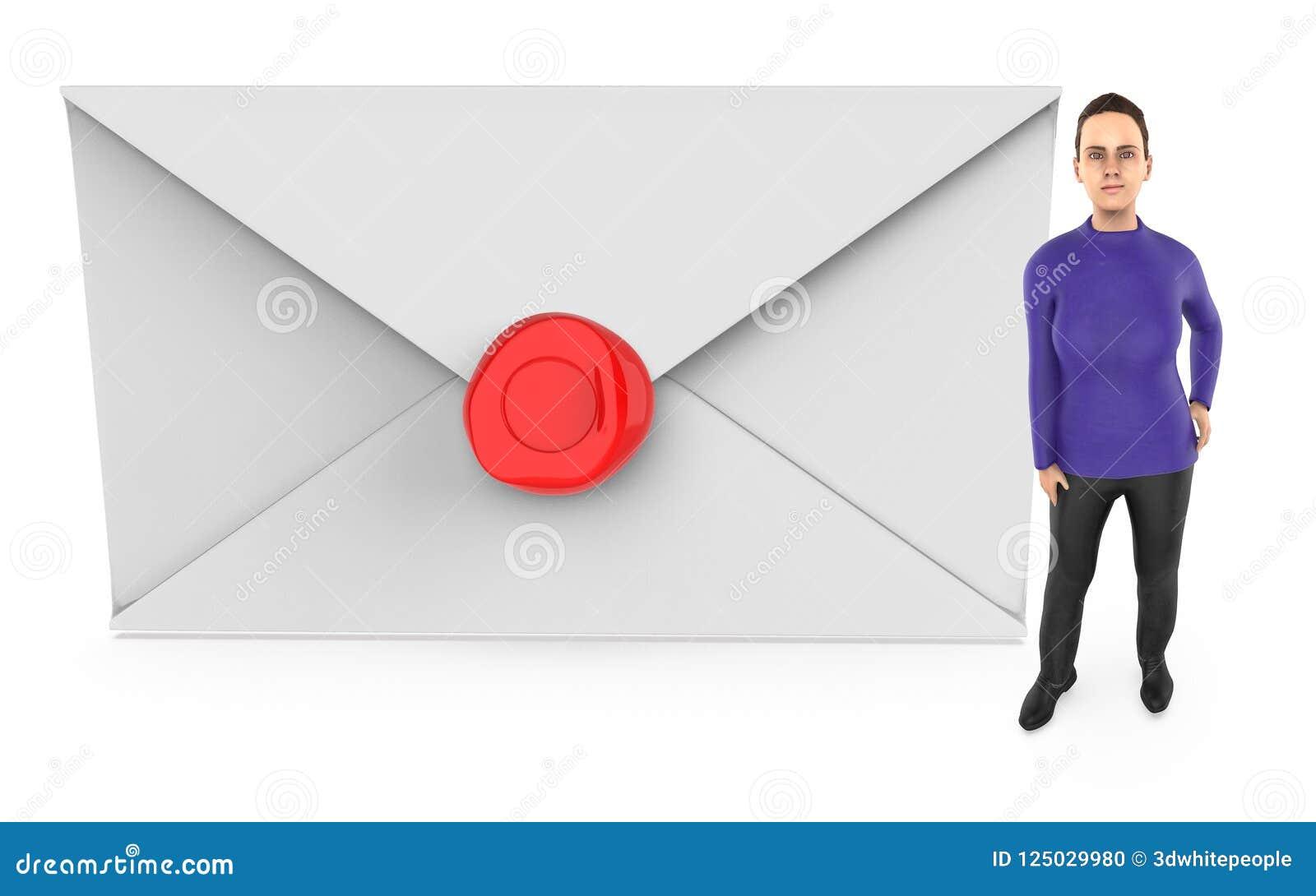 3d le caractère, femme presque se tenant à une cire a scellé l enveloppe