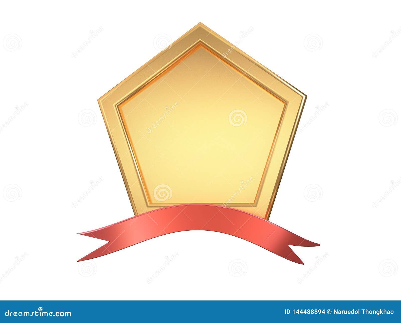 3d leeg metaal gouden hoek-vierkant kader vijf en rode lint witte achtergrond