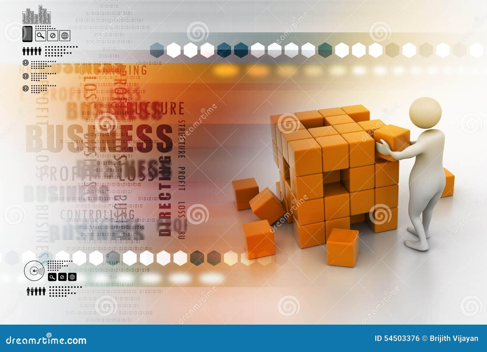 3d les gens - homme, personne poussant un cube