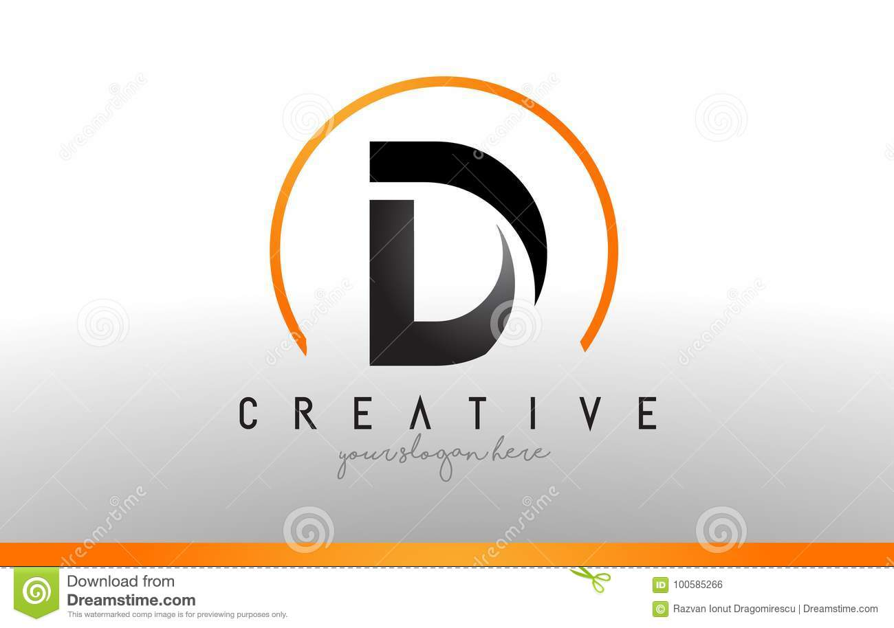 D Letter Logo Design With Black Orange Color Cool Modern Icon T