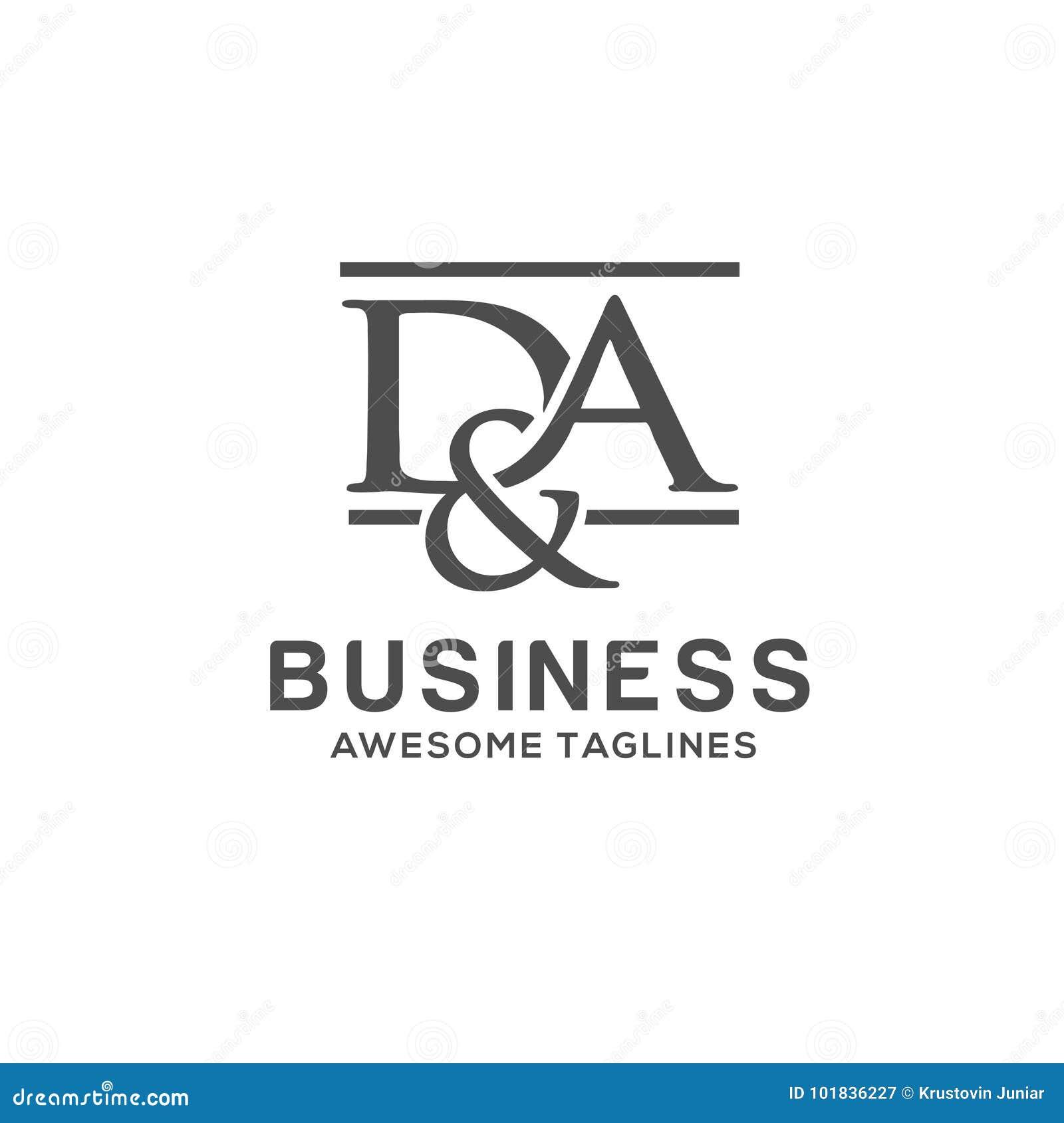 D A Letter Logo Design Stock Vector Illustration Of