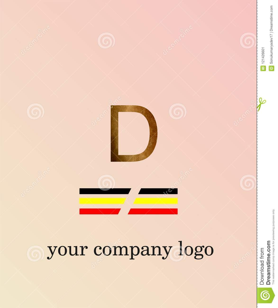 D Letter Logo Template You Company Logo And Light Pink Color ...