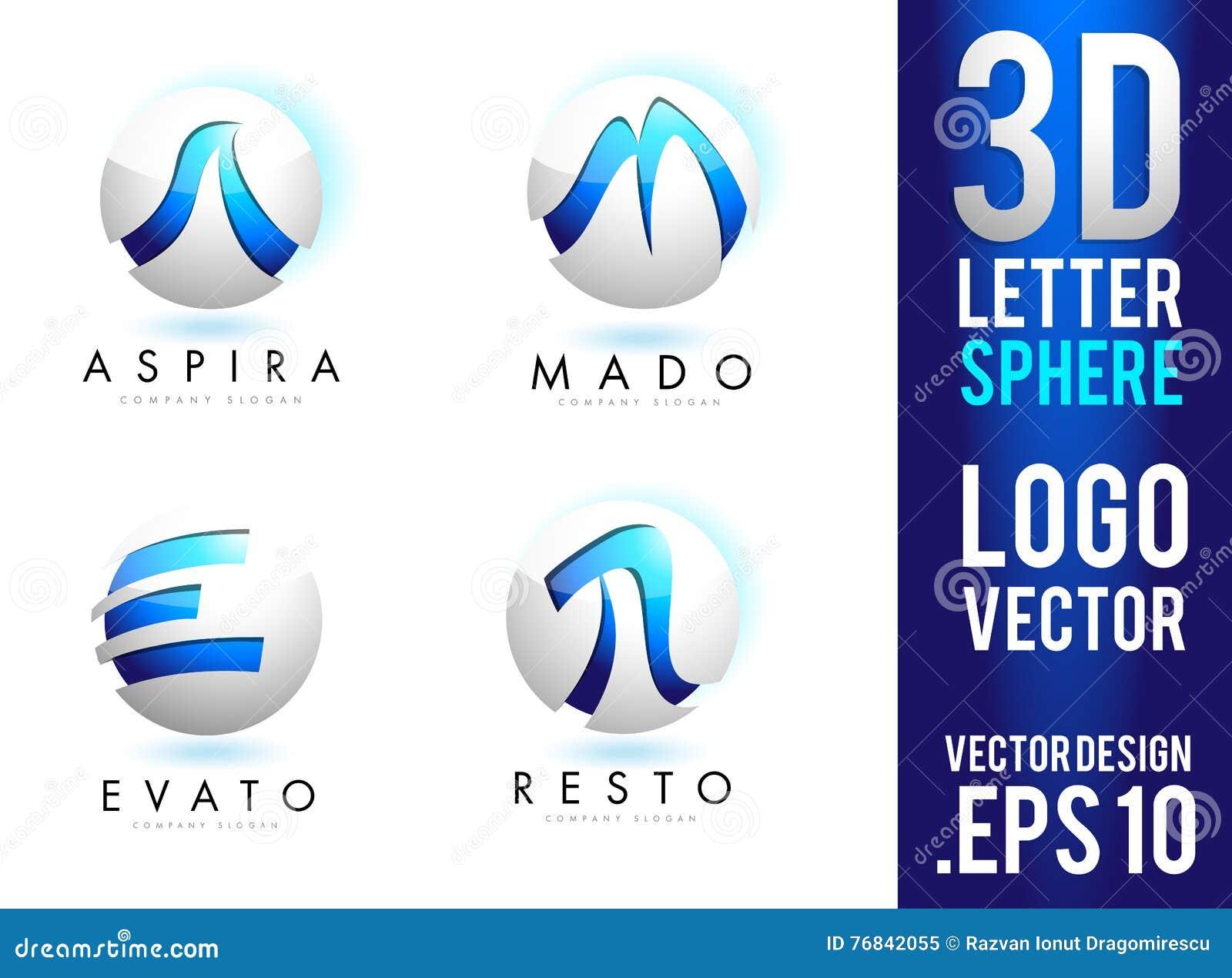 3d Letter Sphere Logo Design Vector Stock Vector