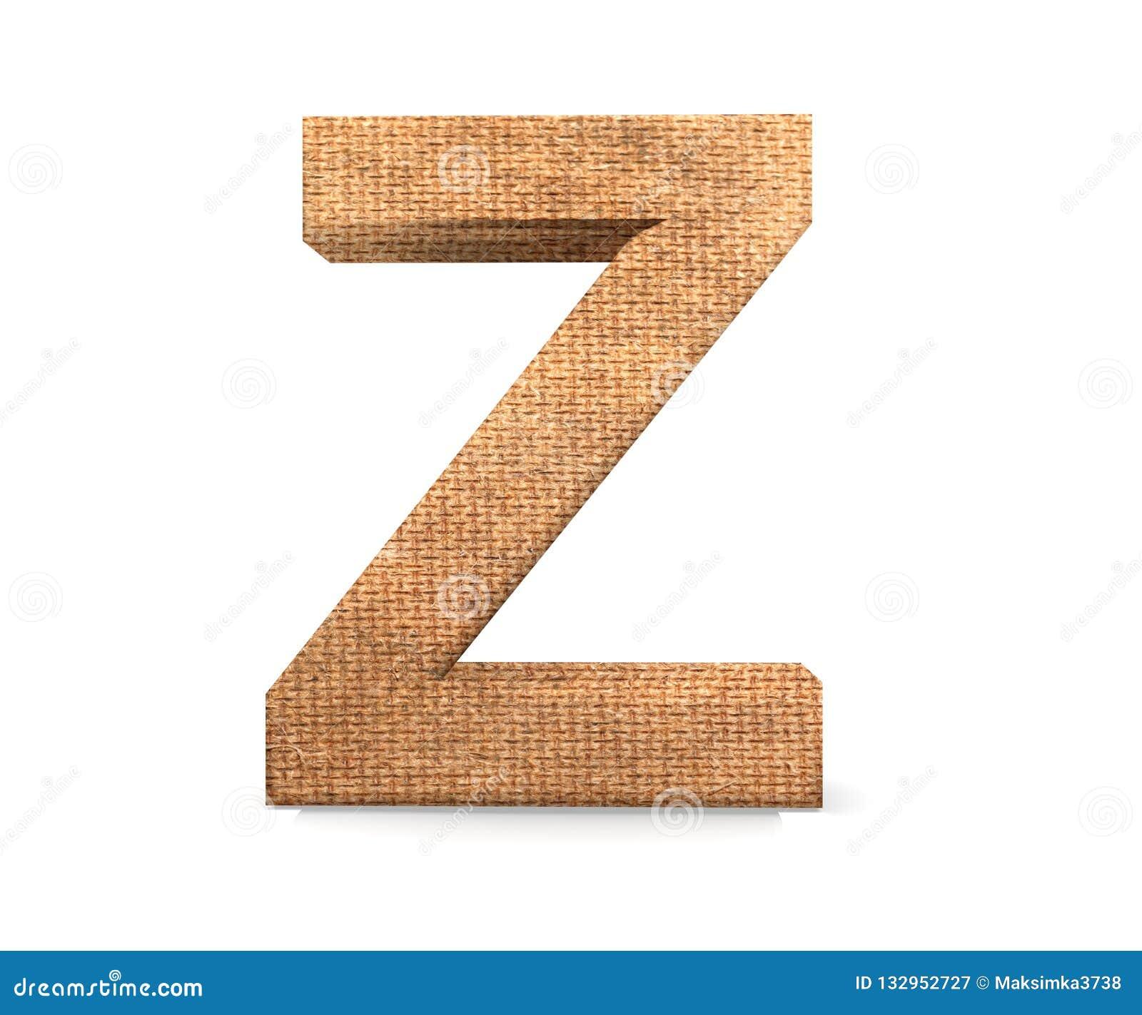 3D lettera decorativa da un alfabeto della tela da imballaggio, lettera maiuscola Z