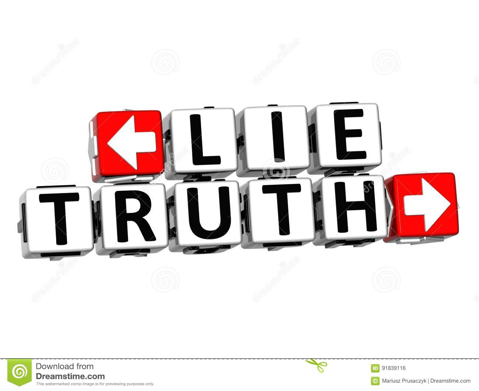 3D Lie Truth Button Click Here Block Text