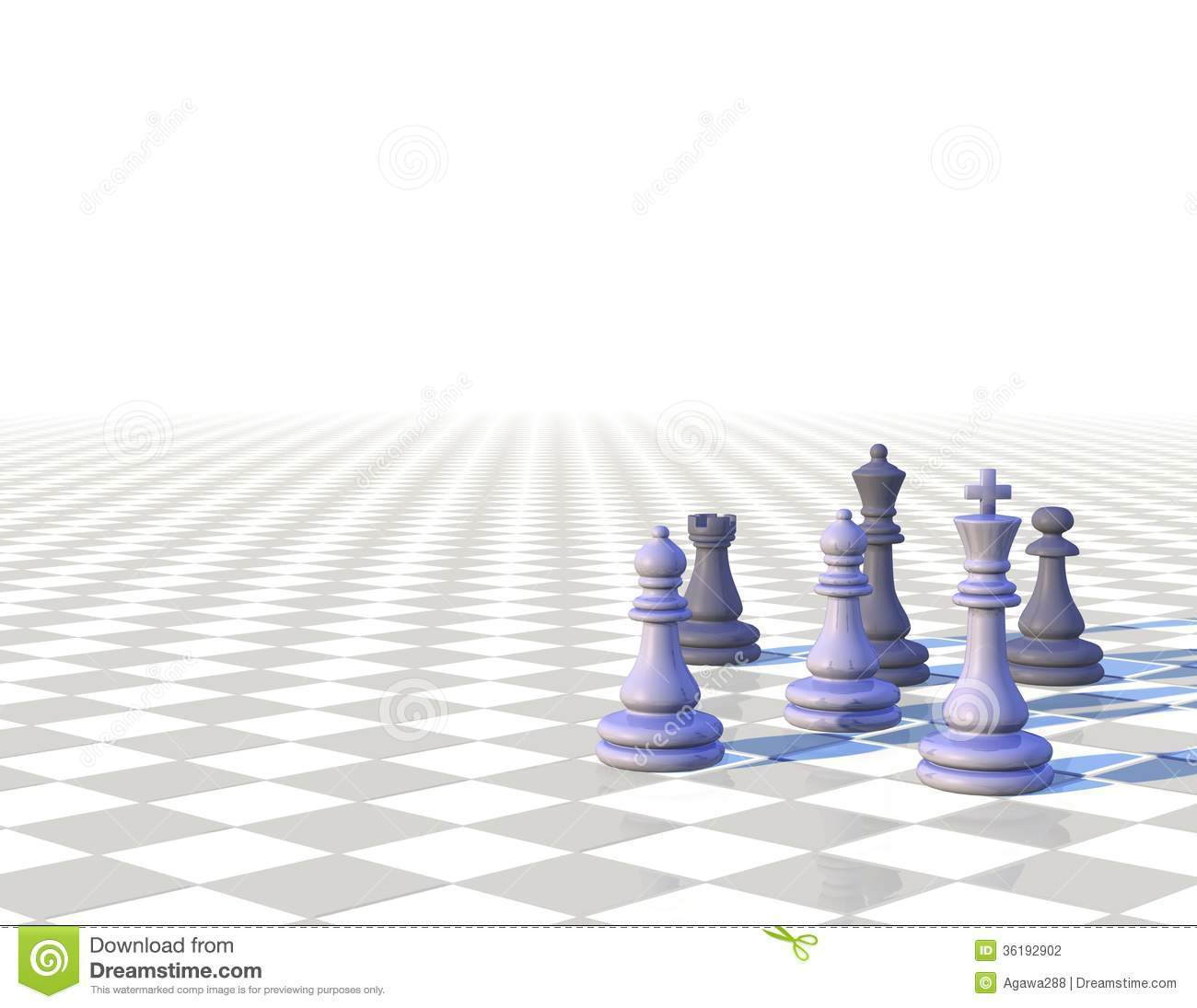 3d Light Chess Background With Chess Pawns Stock