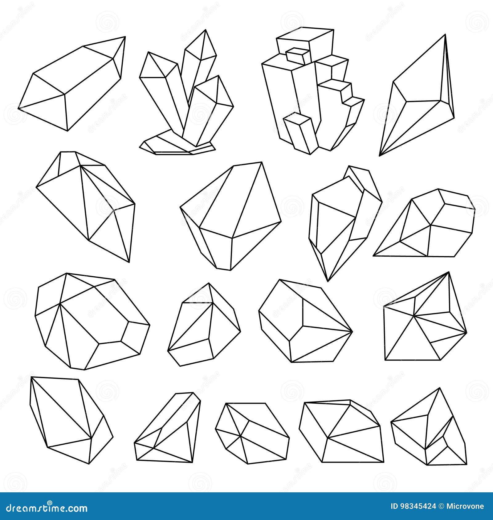 3d Ligne En Cristal Geometrique Ensemble De Vecteur De Formes