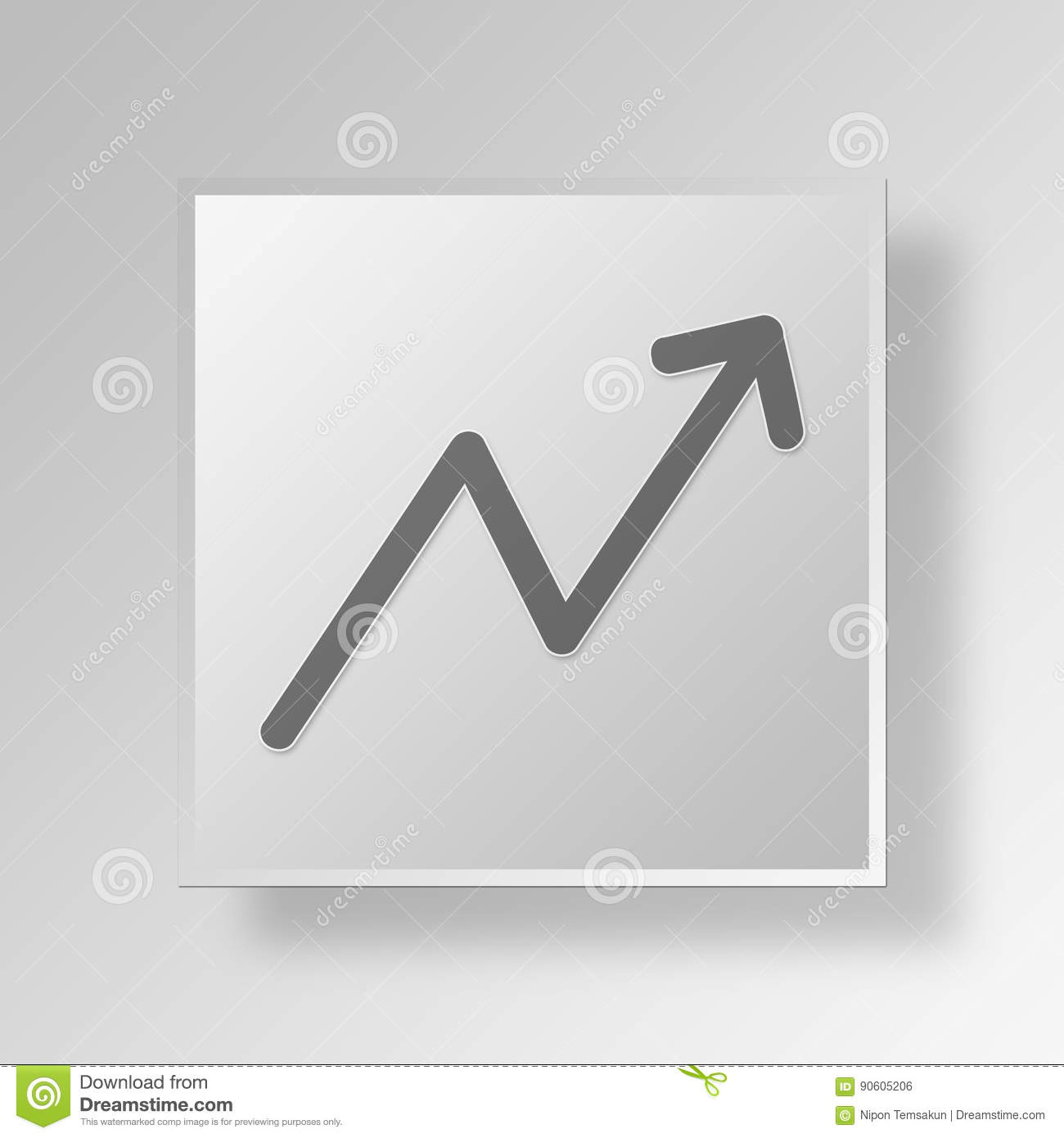 3d line graph icon business concept stock illustration