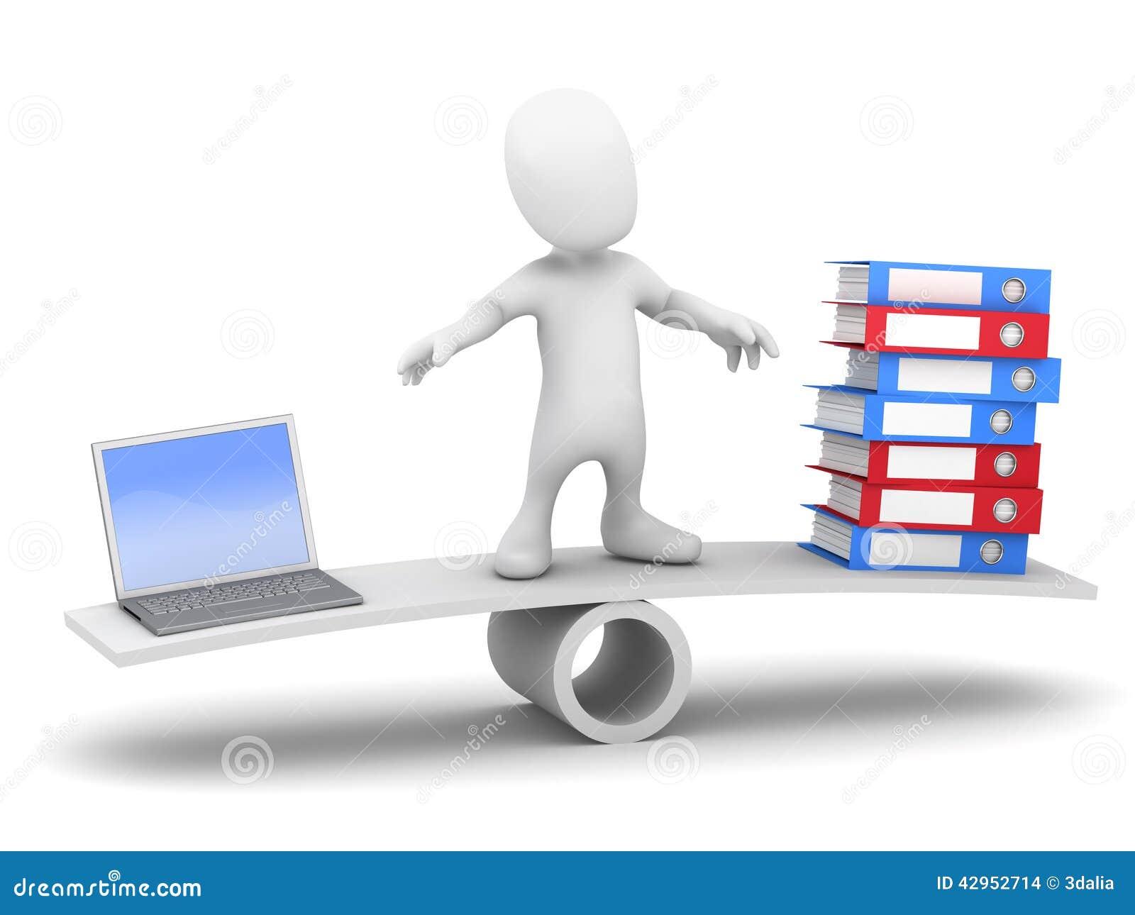 3d Little man balances data on seesaw