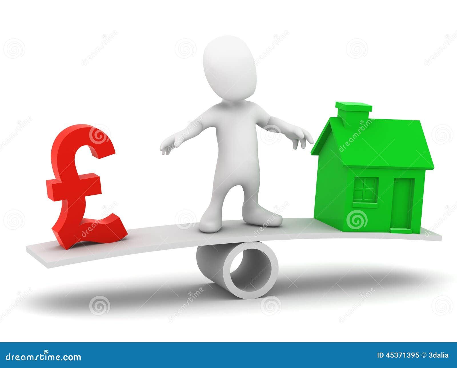3d Little man balances UK Pounds and housing