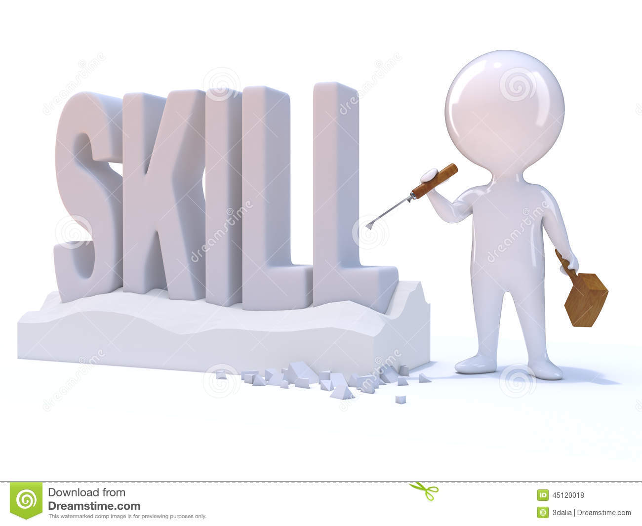 the word skill. royalty-free illustration. download 3d little man carves the word skill o