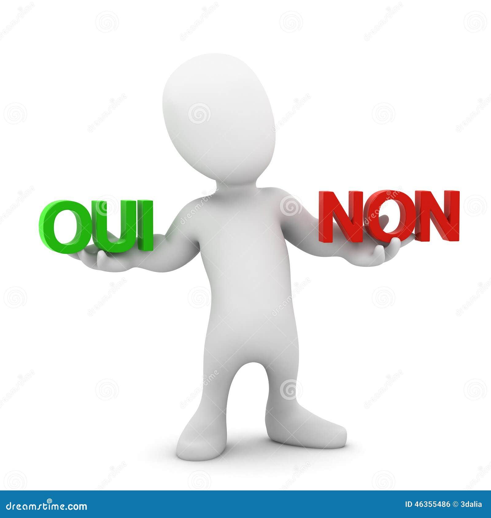 3d Little man chooses Oui or Non